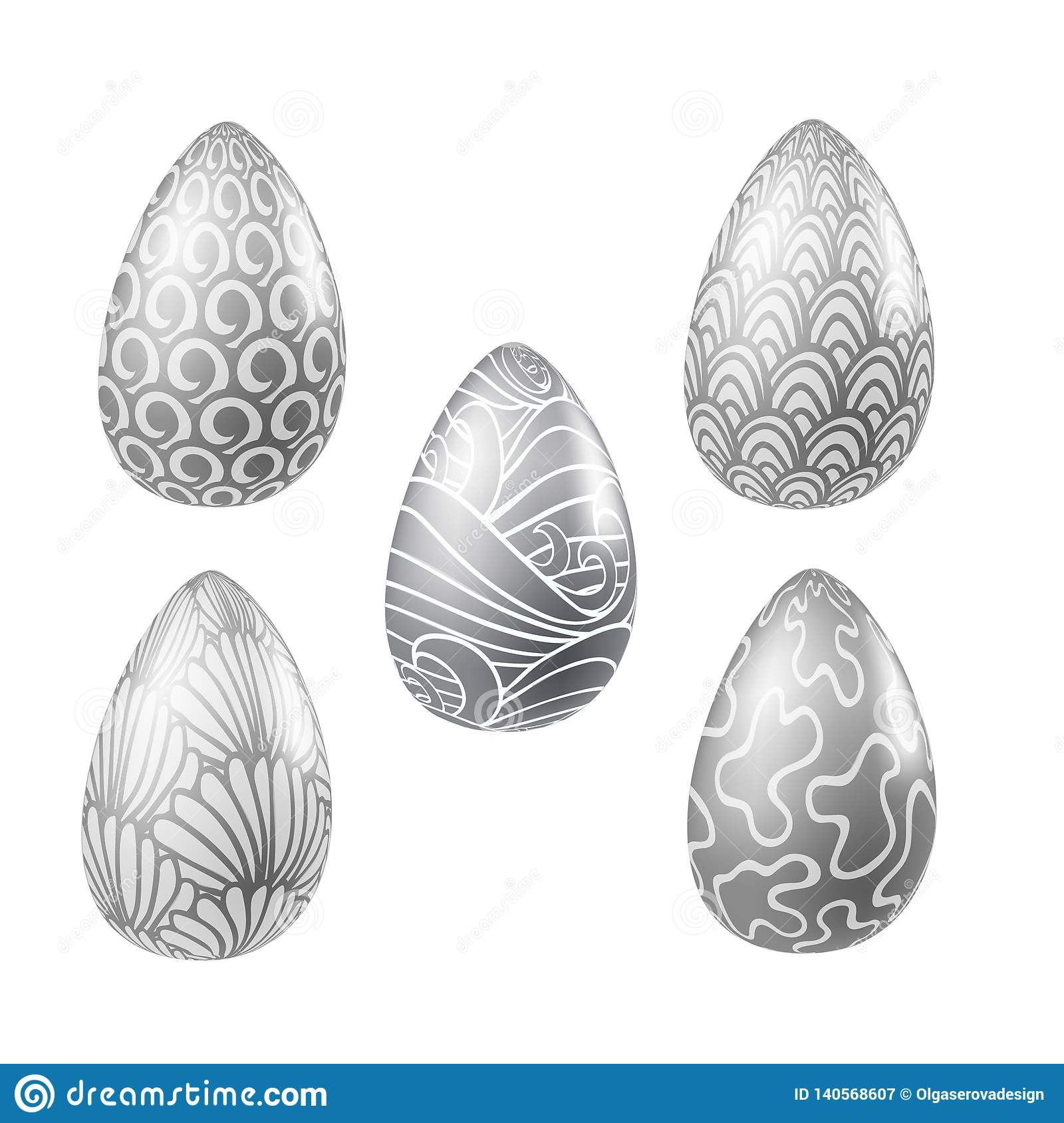 Sistema del vector de los huevos realistas de plata de pascua