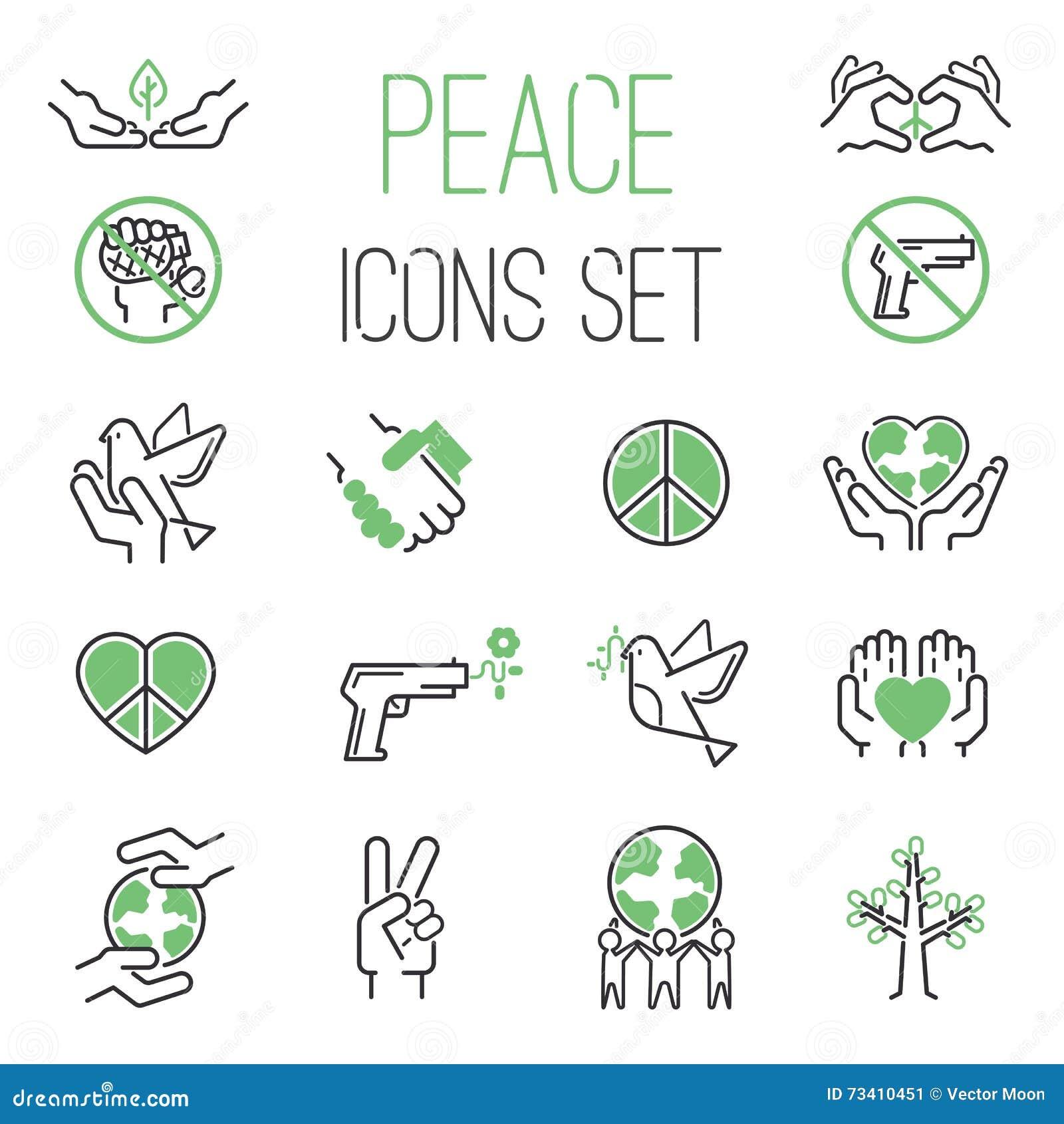 Sistema del vector de los iconos de la paz