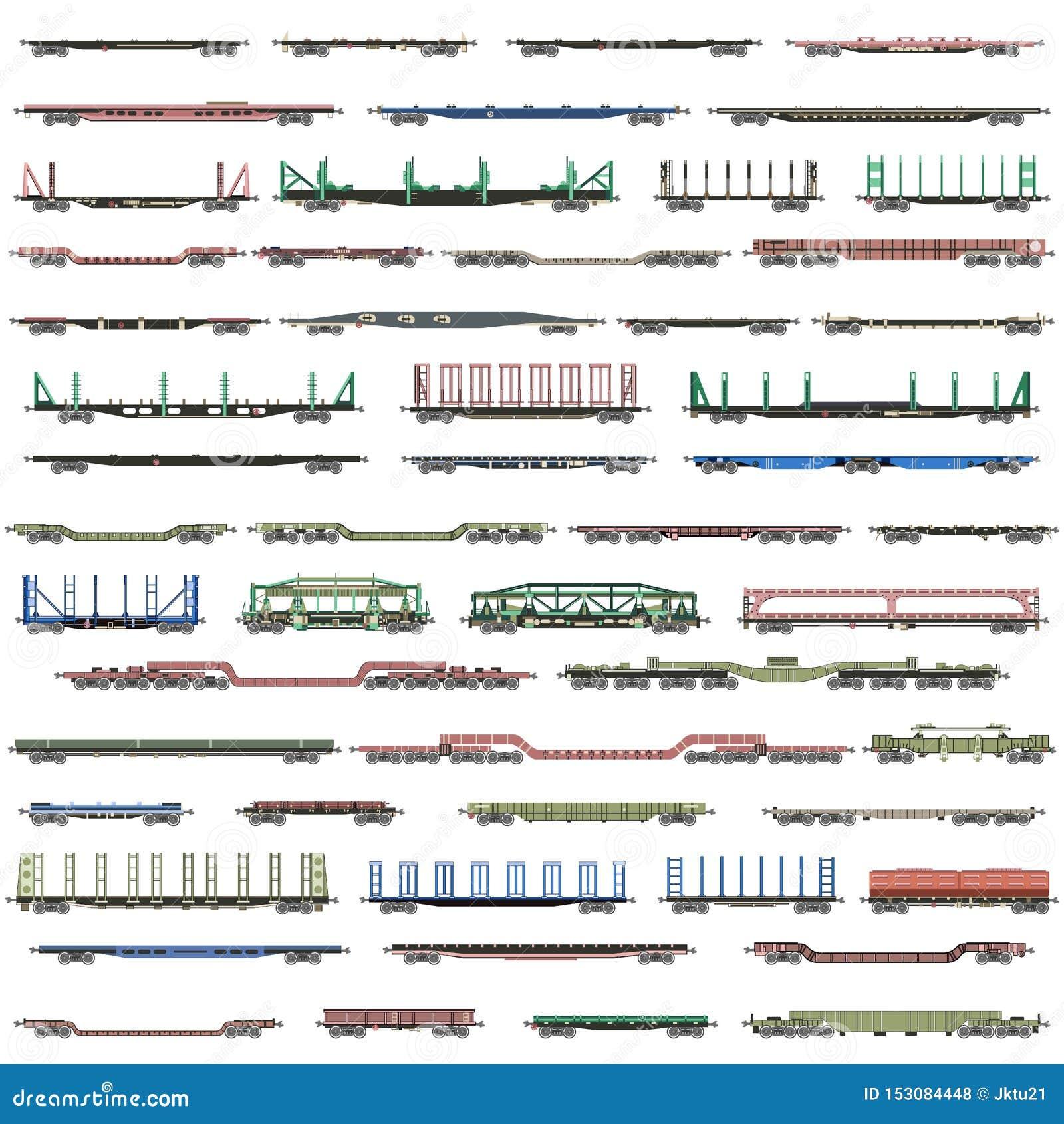 Sistema del vector de los iconos deatiled aislados de trenes, de railcars, de carros y de furgonetas ferroviarios