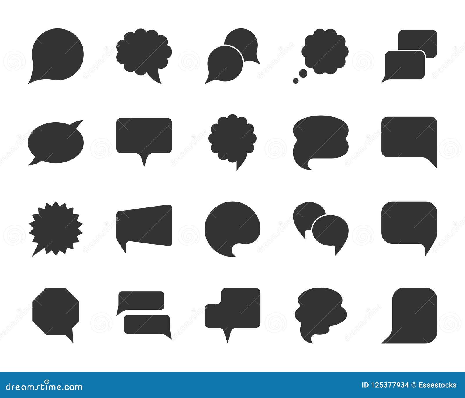 Sistema del vector de los iconos de la silueta del negro de la burbuja del discurso