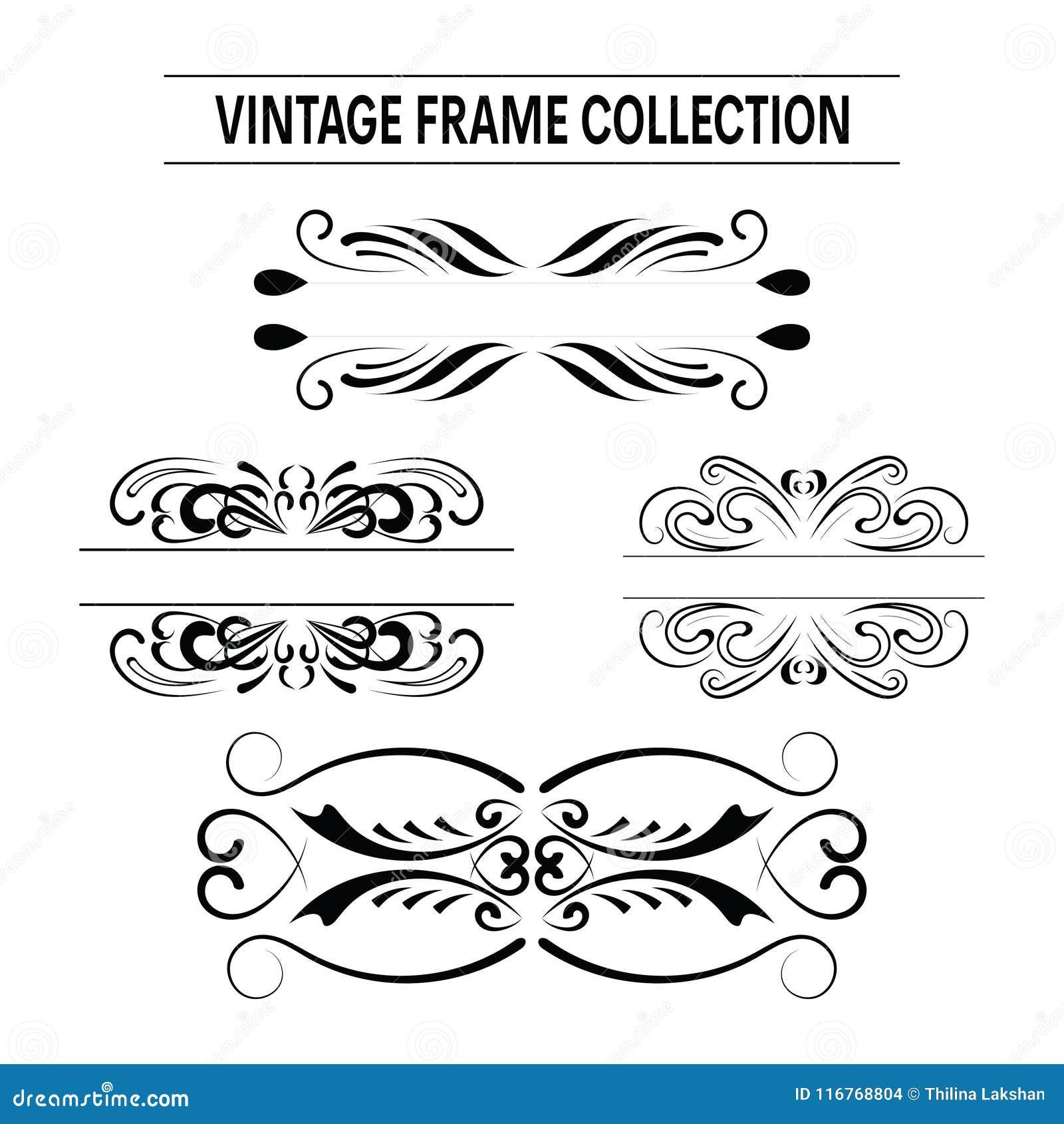 Sistema del vector de los marcos de la invitación de la boda del vintage