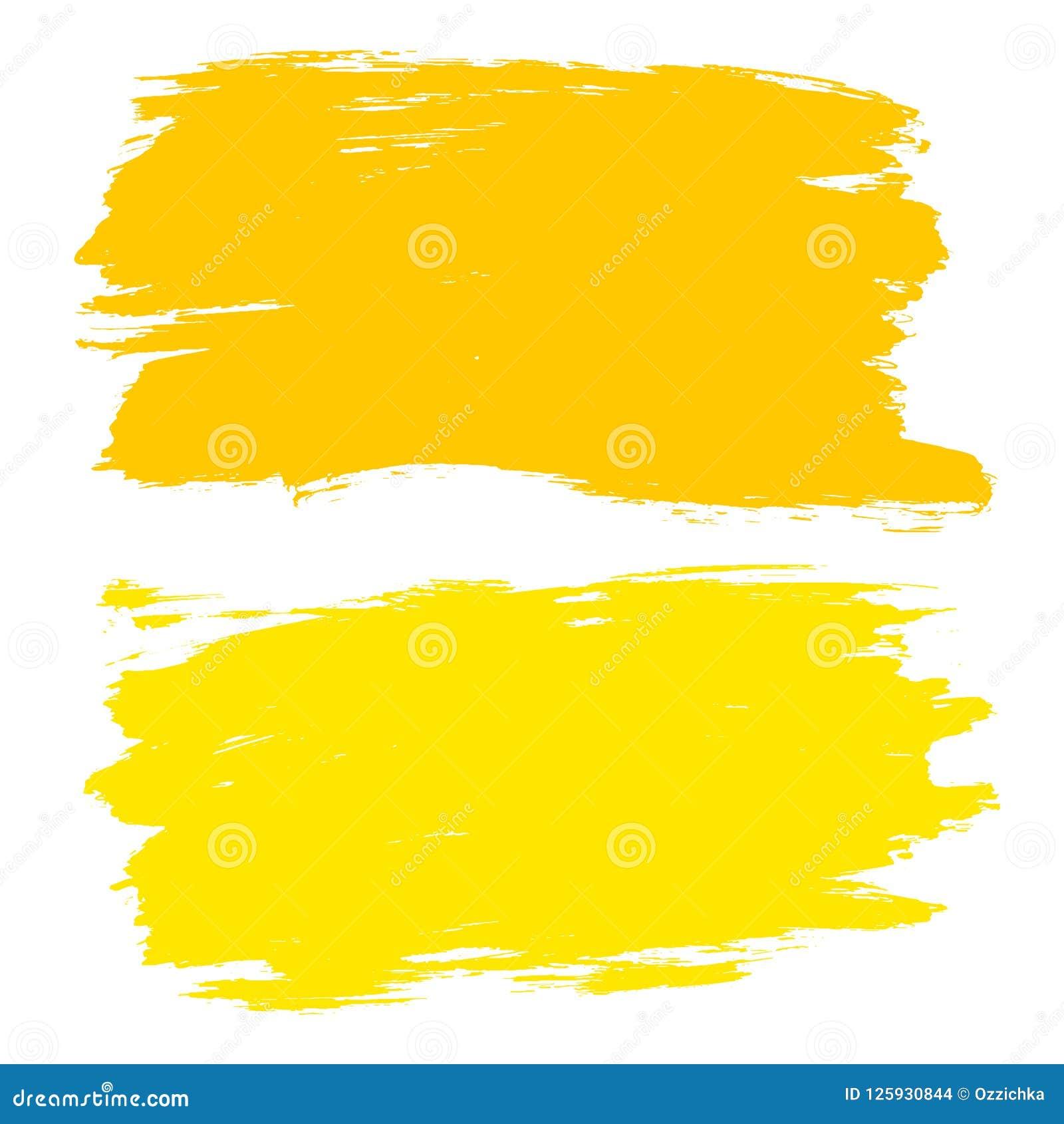 Sistema del vector de los movimientos dibujados mano del cepillo, manchas Fondos dibujados mano artística amarilla del color