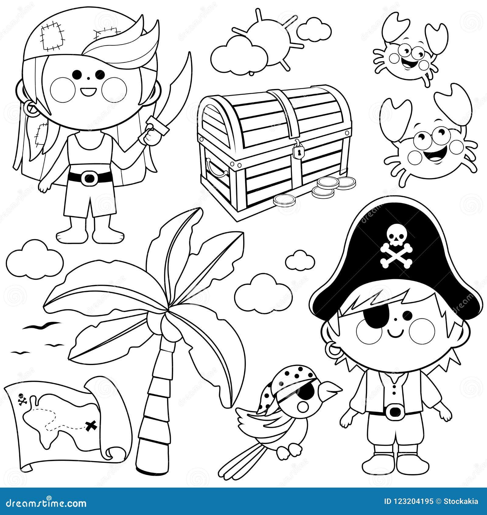 Sistema Del Vector De Los Niños Del Pirata Página Blanco Y Negro
