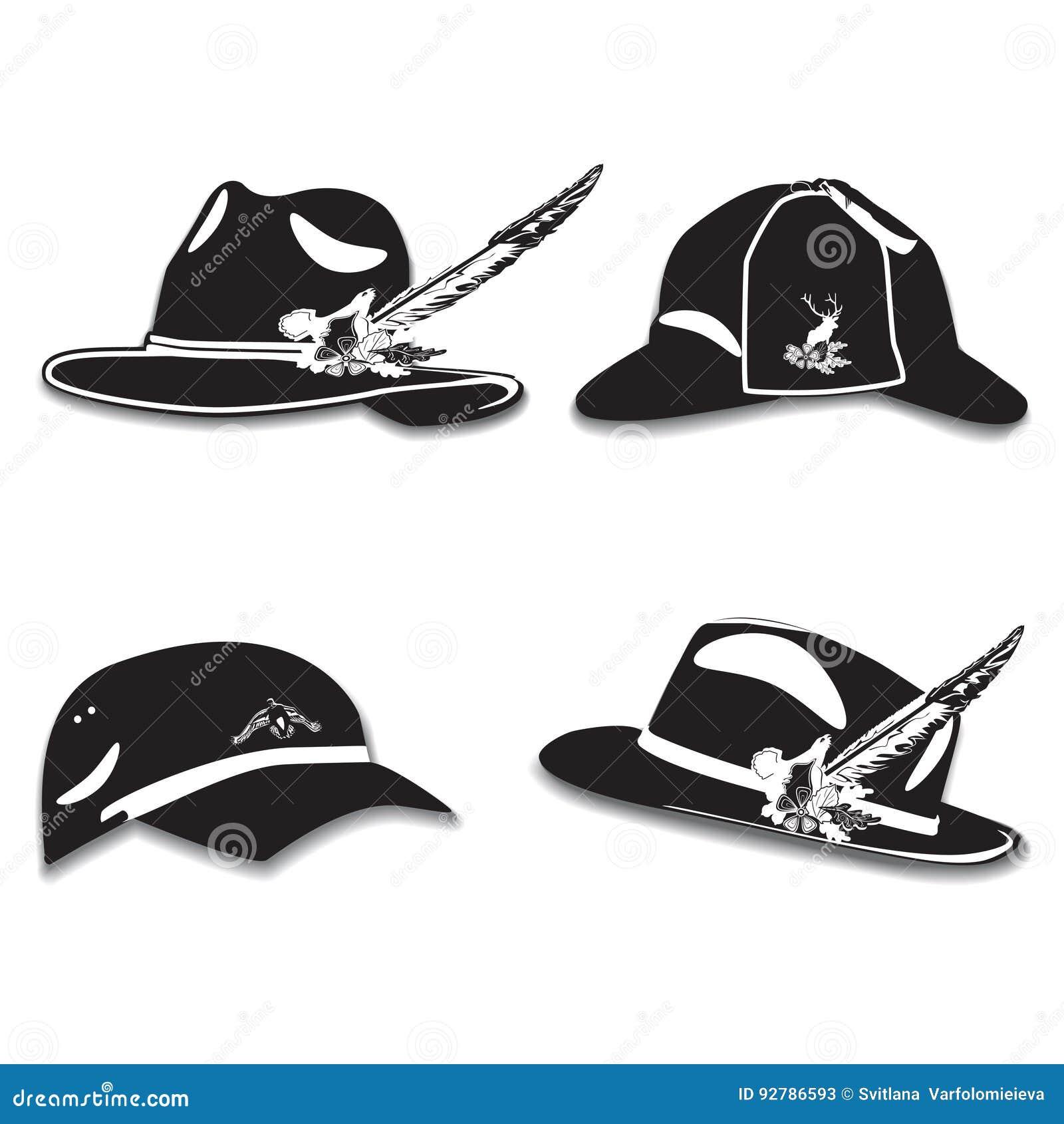 Sistema del vector de sombreros del ` s de los hombres con la pluma 7d050857ce4