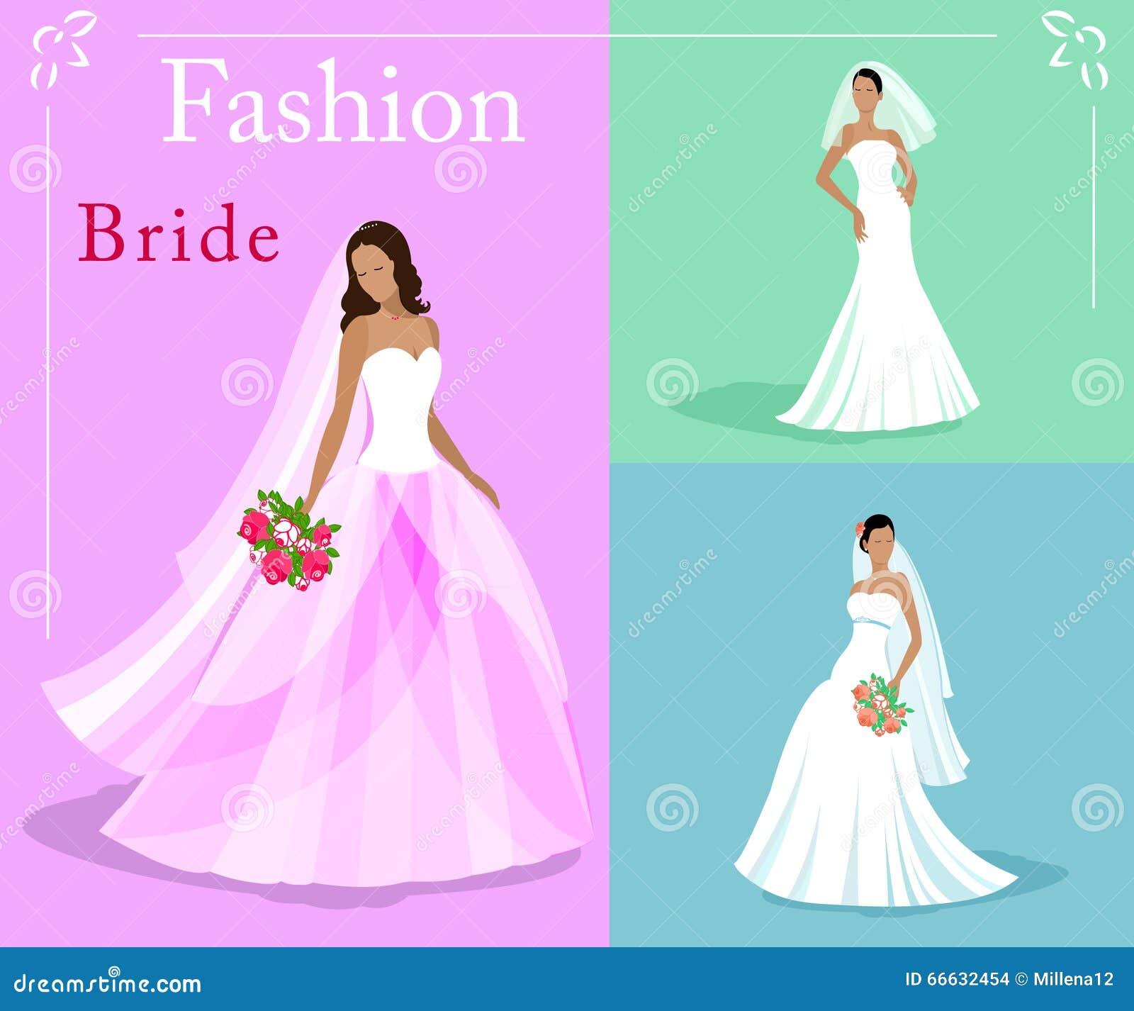 Sistema Del Vector De Novias Hermosas De Una Moda En Los Vestidos De ...