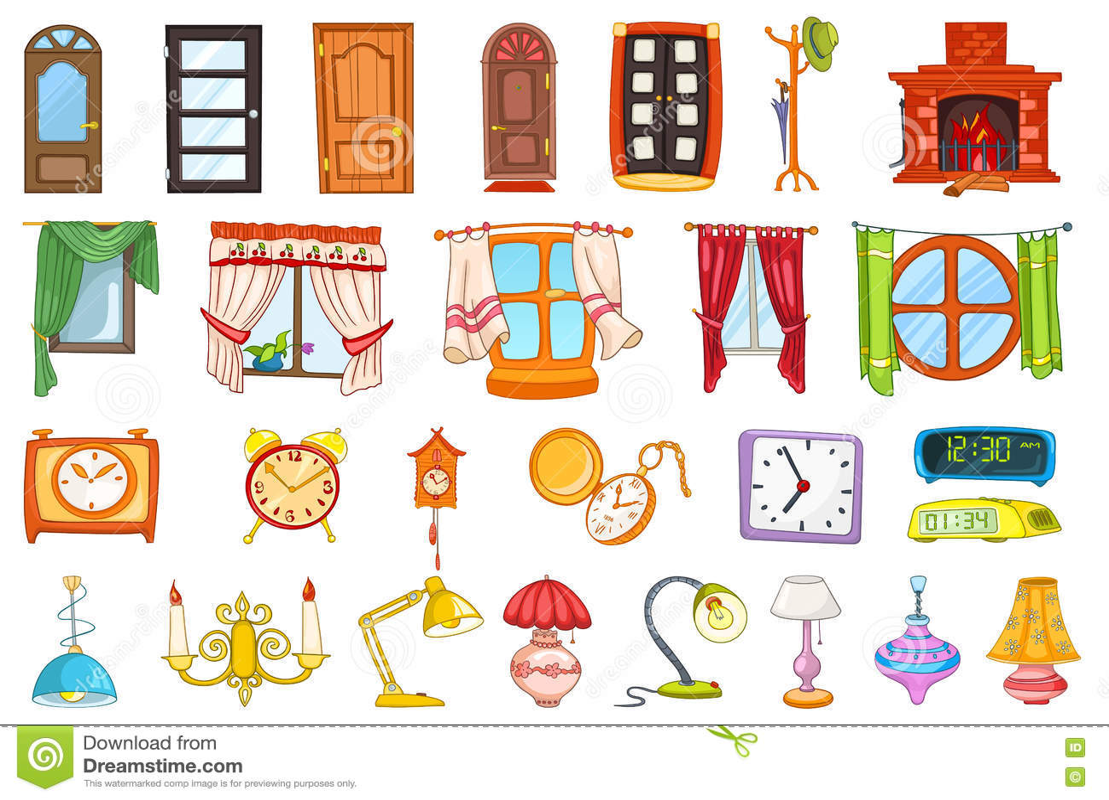 Sistema del vector de objetos del interior de la casa for 10 objetos del salon en ingles