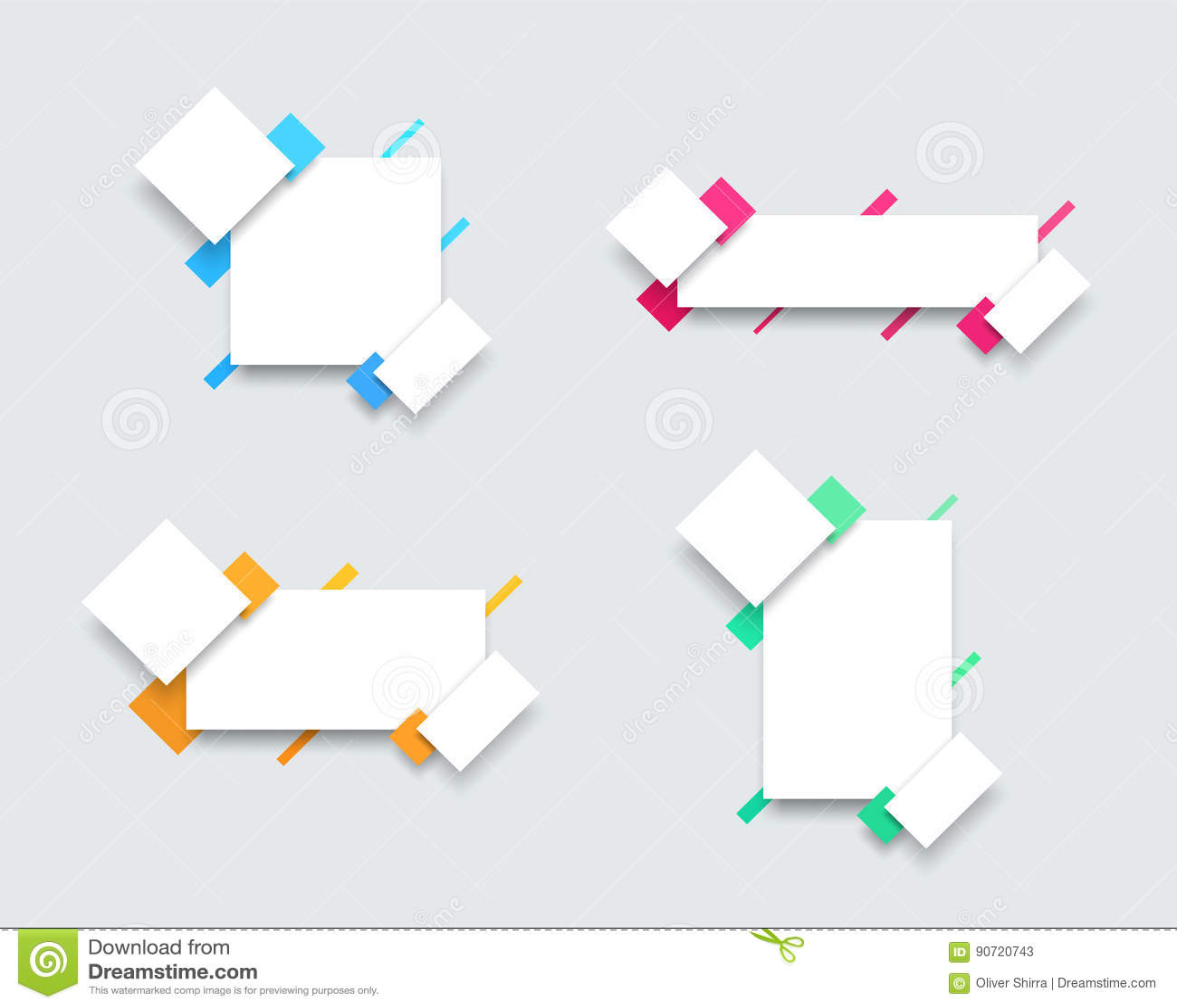 Sistema Del Vector De 4 Plantillas Coloridas Simples A De La Bandera ...