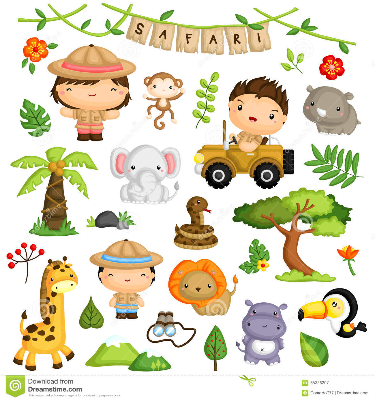 Sistema del vector de Safari Forest Kids y del animal