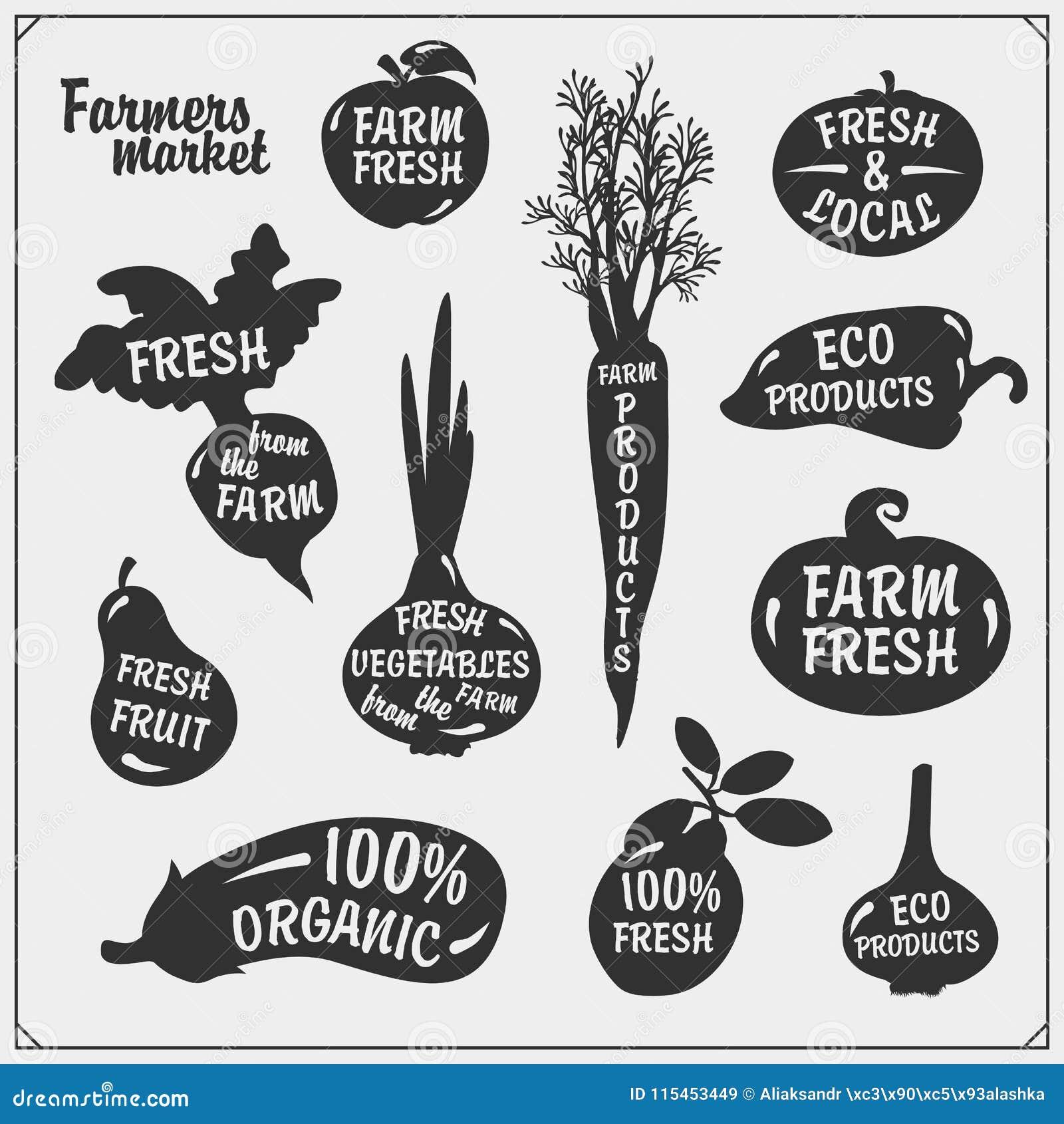 Sistema del vector de siluetas de las verduras aisladas en el fondo blanco Iconos del mercado de los granjeros