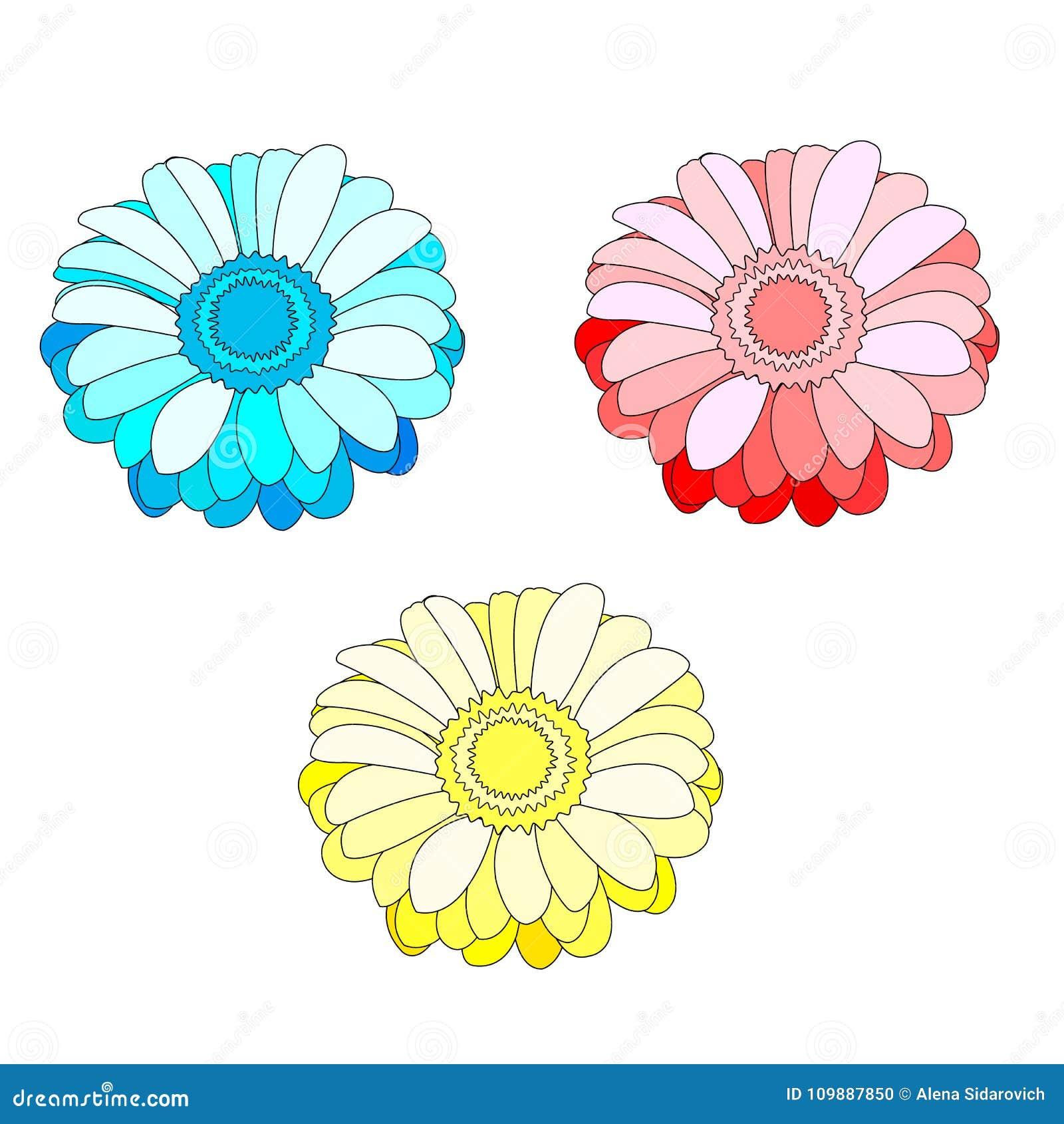 Sistema del vector de tres flores aisladas en el fondo blanco, azul,
