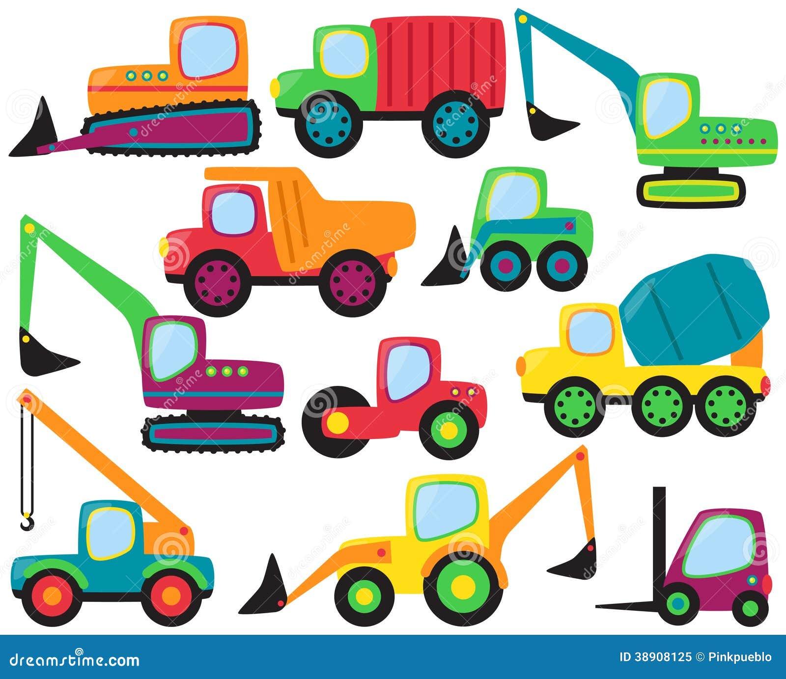 Sistema del vector de vehículos lindos de la construcción