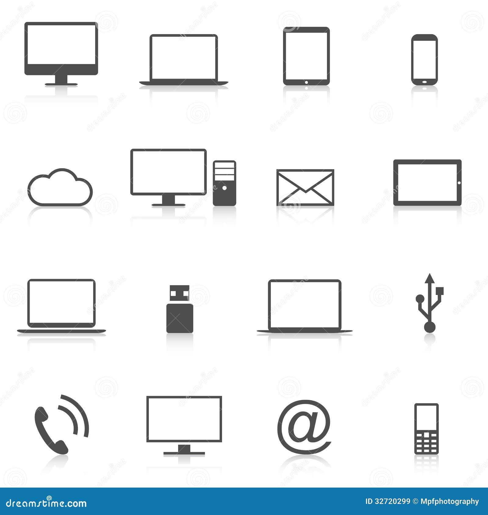 Sistema del vector moderno del aislamiento de los iconos del ordenador