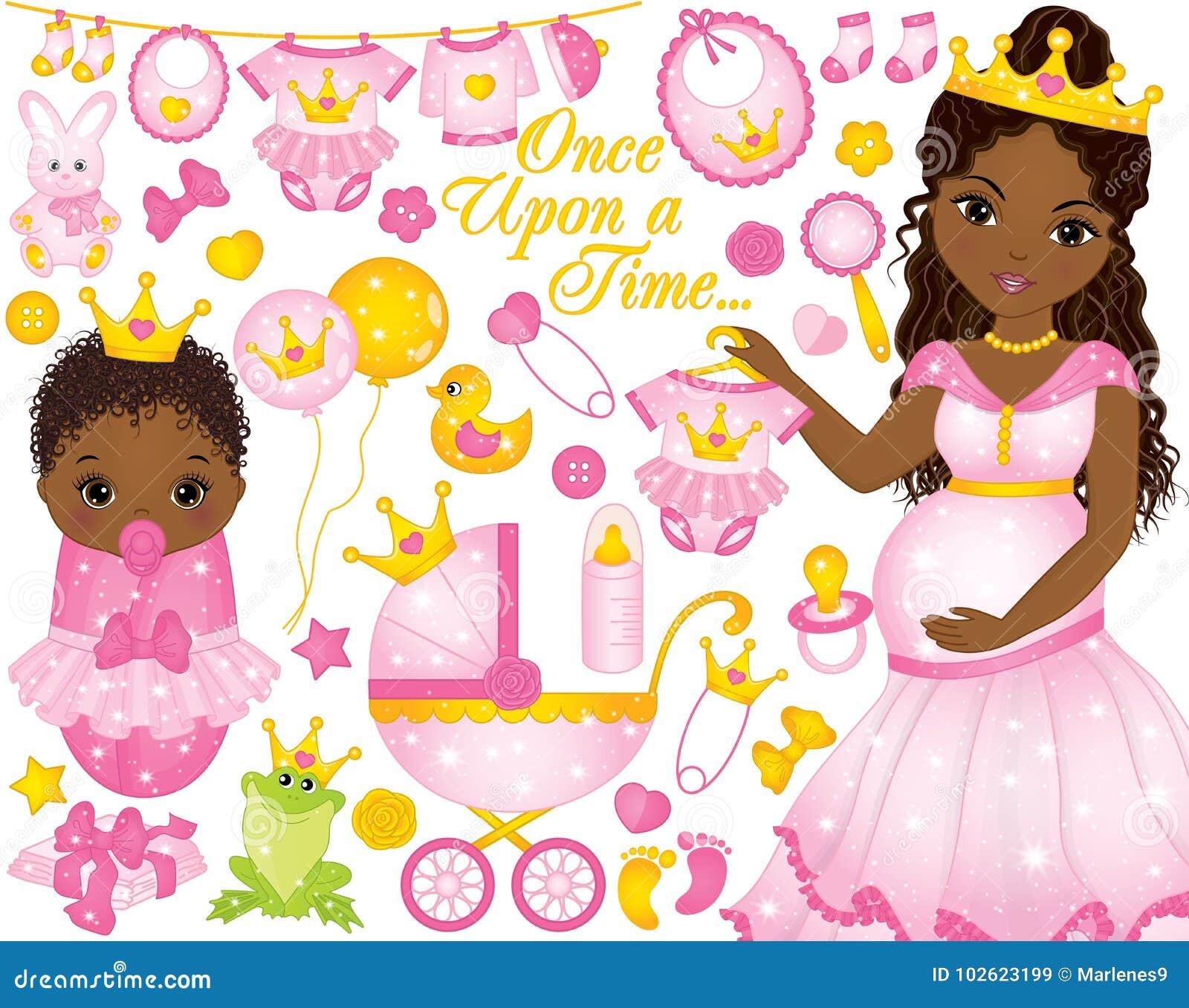Sistema del vector para la ducha del bebé con la mujer embarazada y el bebé afroamericanos vestidos como princesas