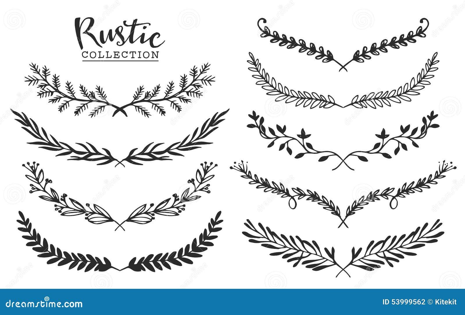 Sistema del vintage de laureles rústicos dibujados mano Gráfico de vector floral