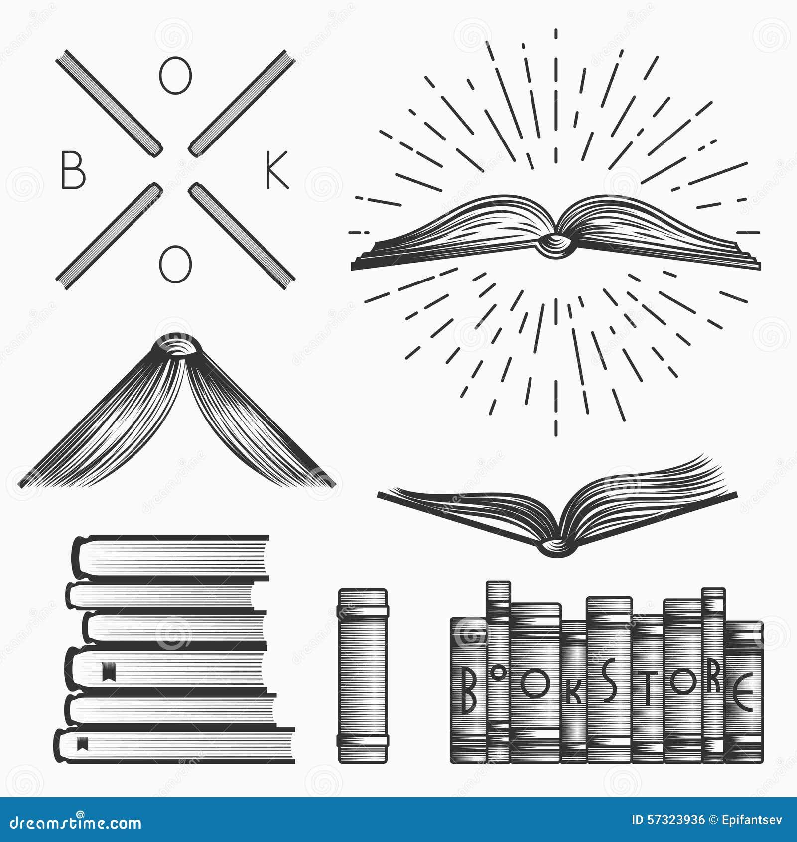 Book logos stock vector image 42714029 - Sistema Del Vintage De Logotipos De La Librer A De Etiquetas Y De Elementos Del Dise O