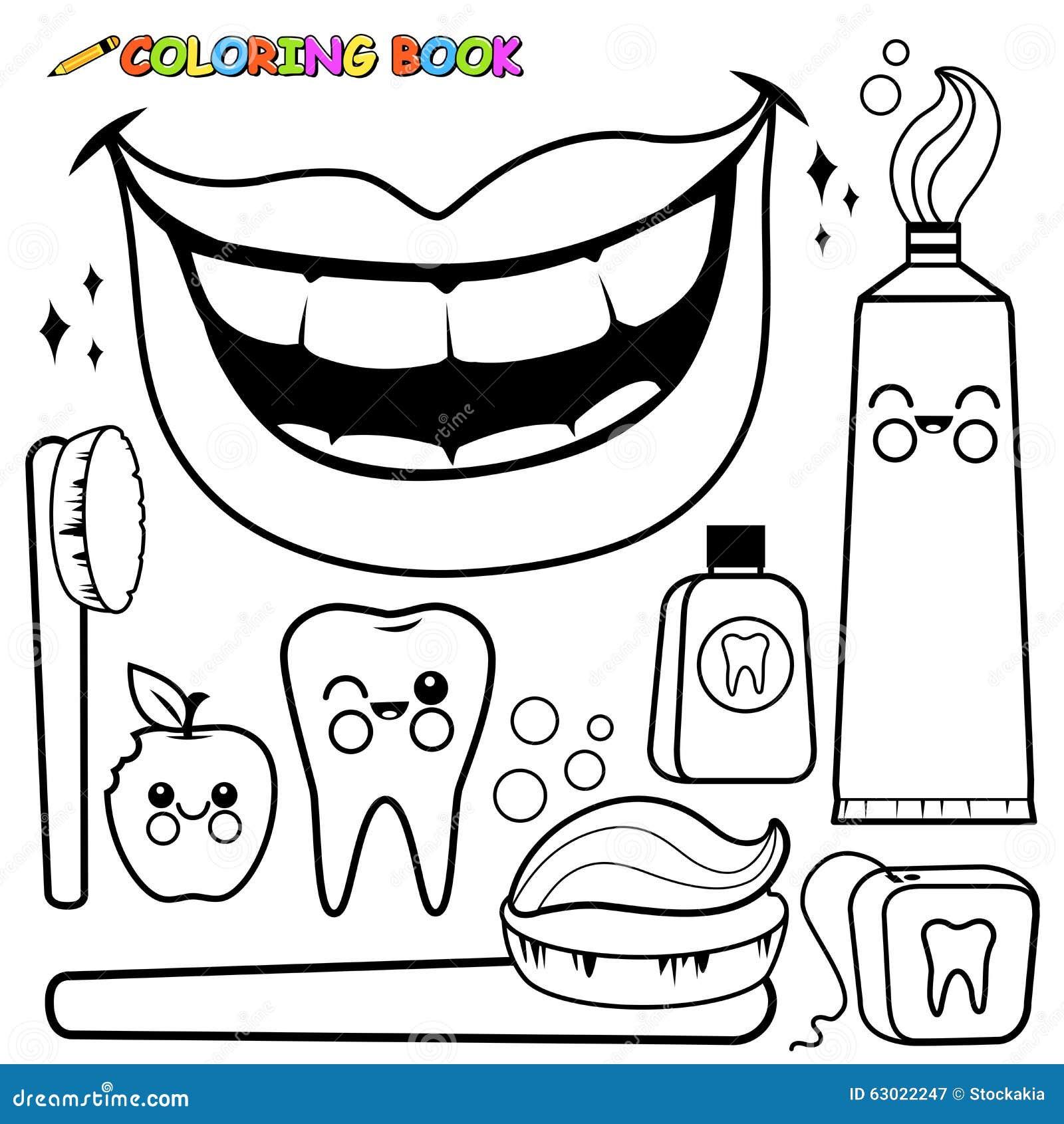 Sistema Dental Del Vector De La Higiene De La Página Que Colorea ...