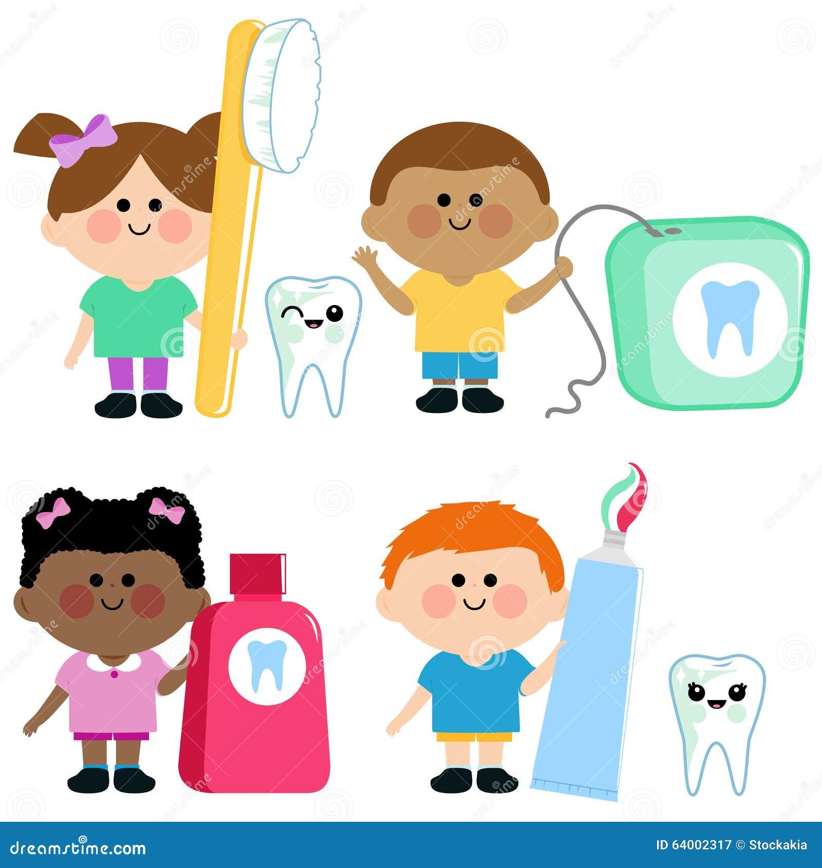 Sistema Dental Del Vector De La Higiene De Los Niños Ilustración del ...