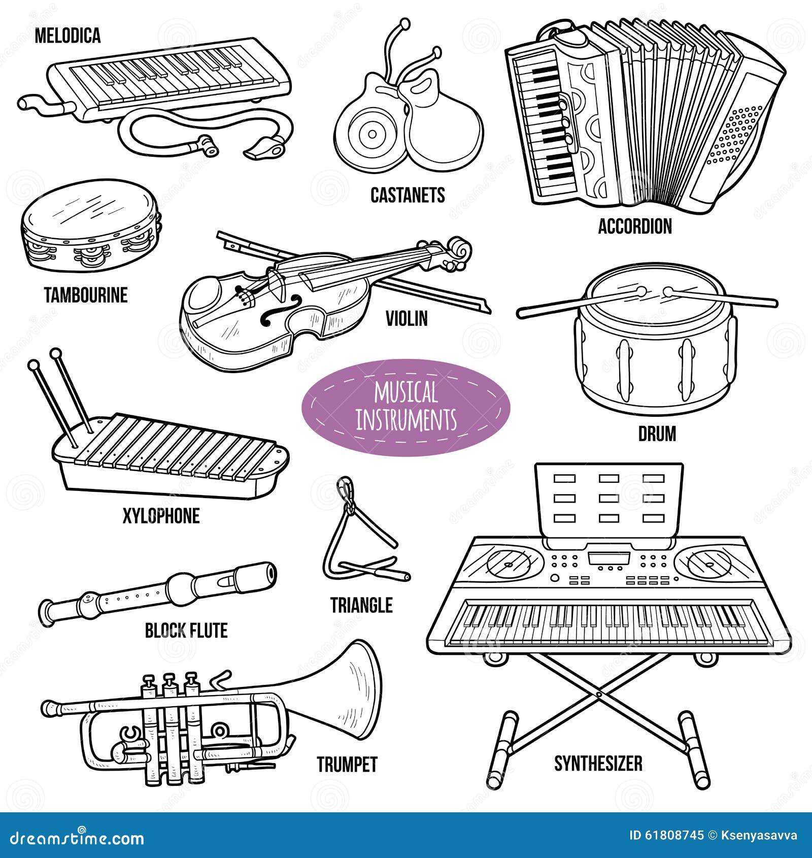 Sistema Descolorido Con Los Instrumentos Musicales Ilustración del ...