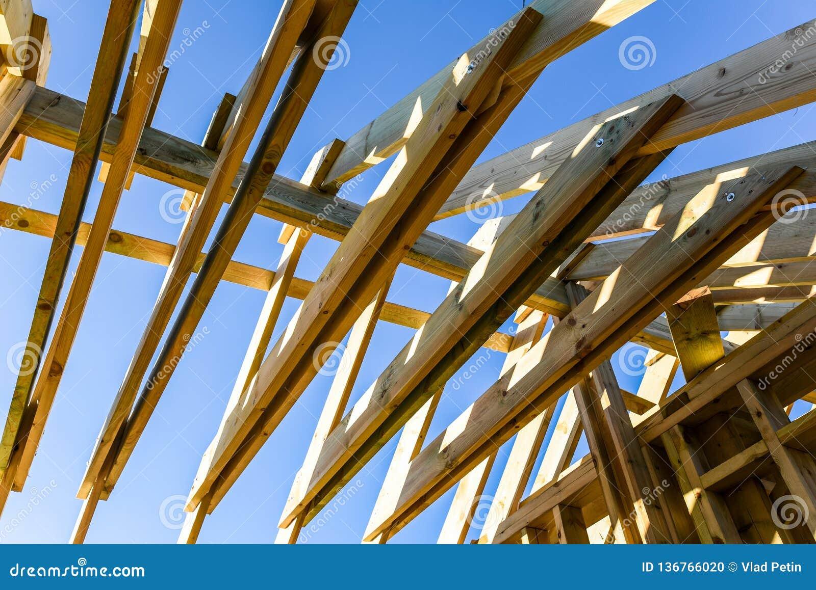 Progetto Capriata In Legno sistema di legno della capriata fotografia stock - immagine