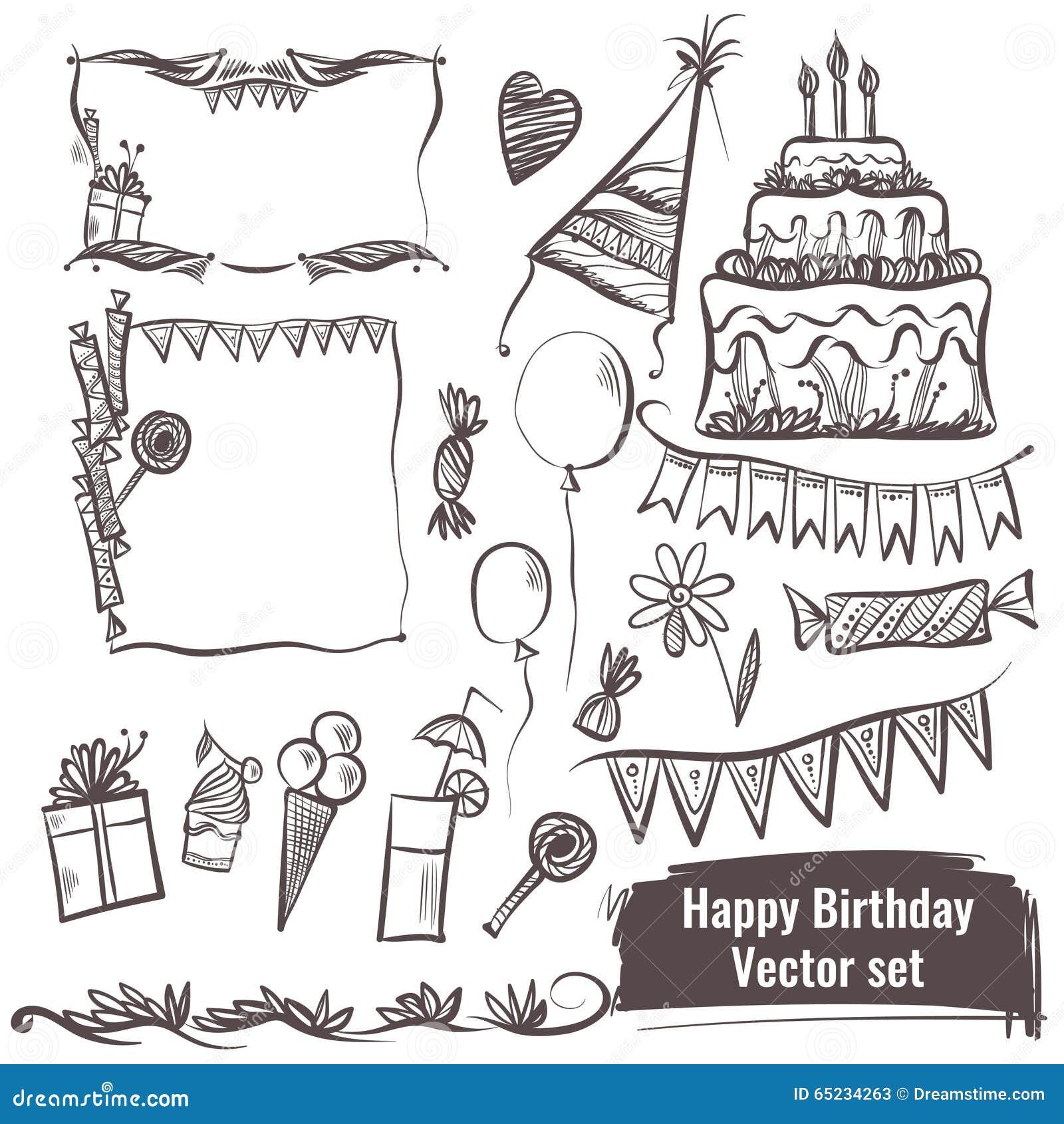 Sistema dibujado mano de elementos del vector Feliz cumpleaños