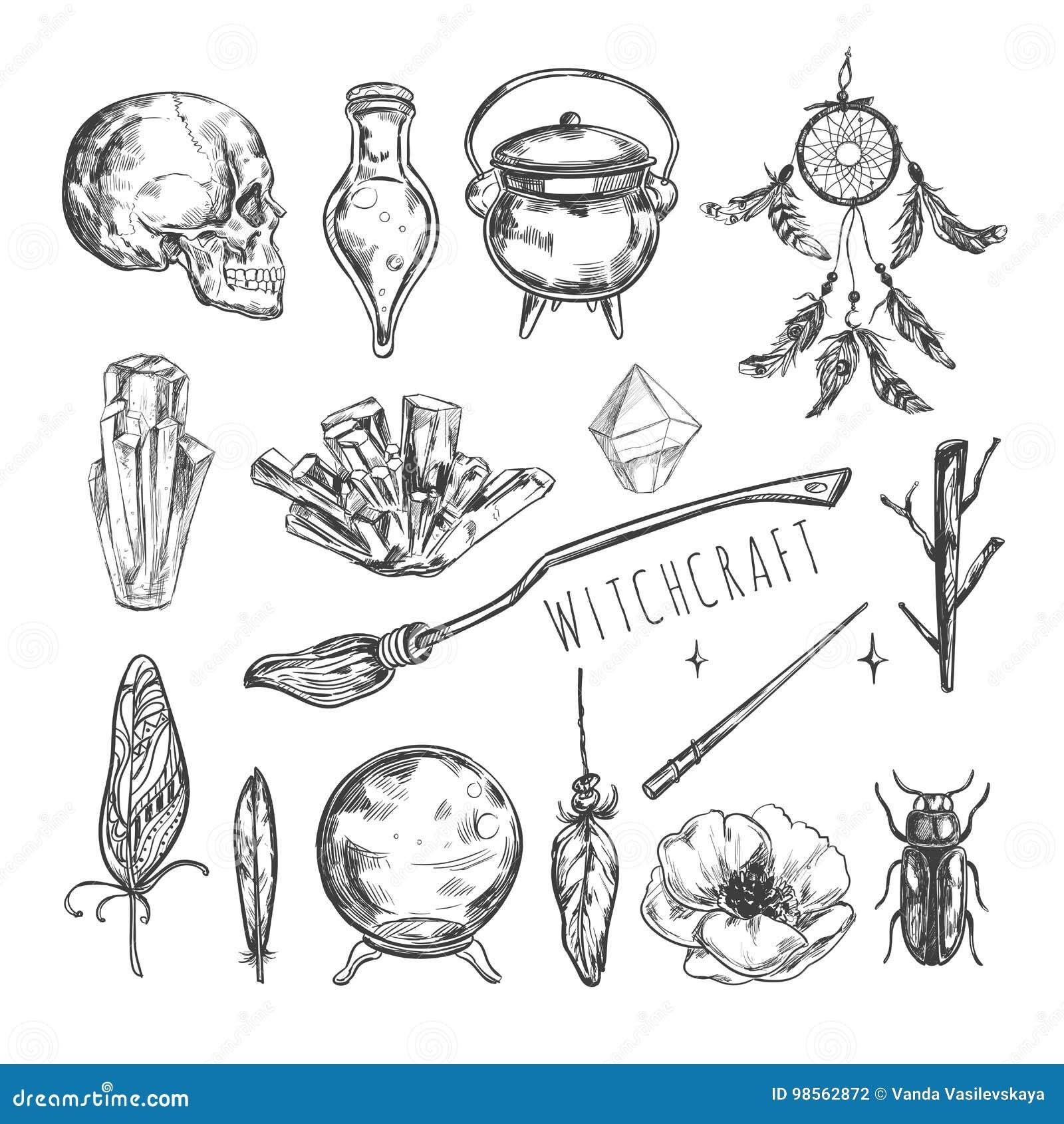 Sistema Dibujado Mano De La Magia Vector La Hechicería Del Ejemplo