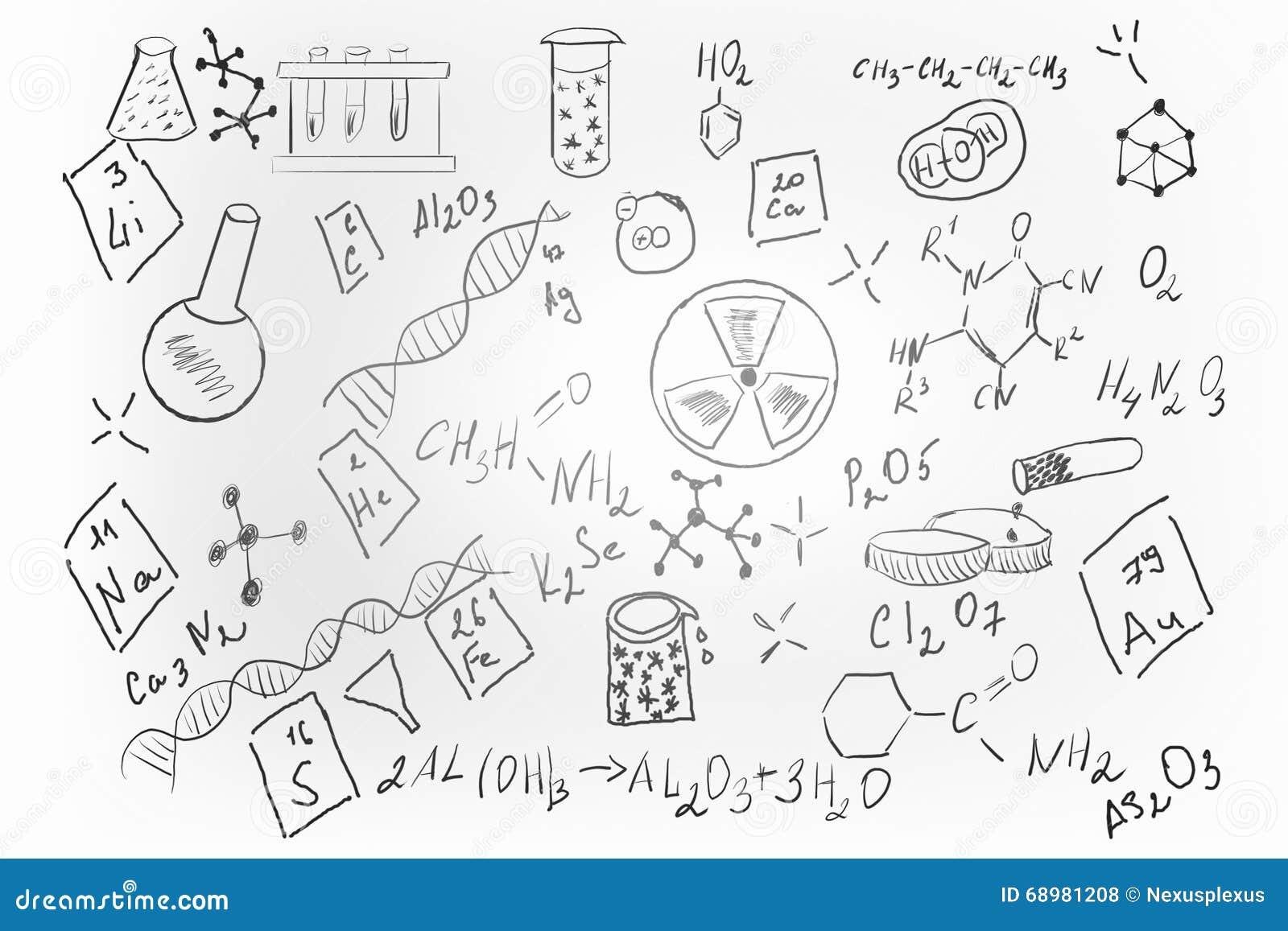 Sistema dibujado mano de la química