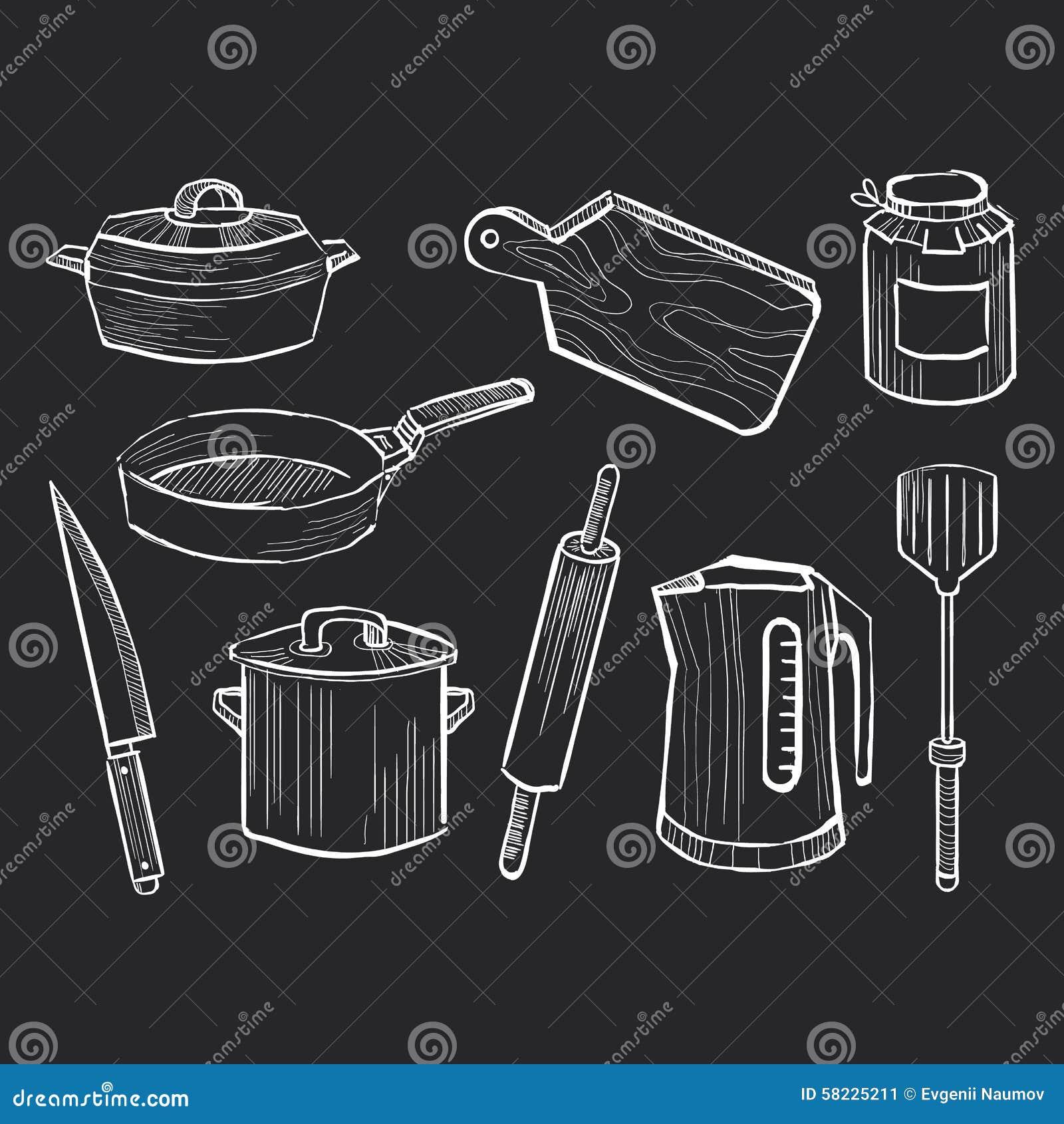 Sistema dibujado mano de utensilios de la cocina en una - Pizarras de cocina ...