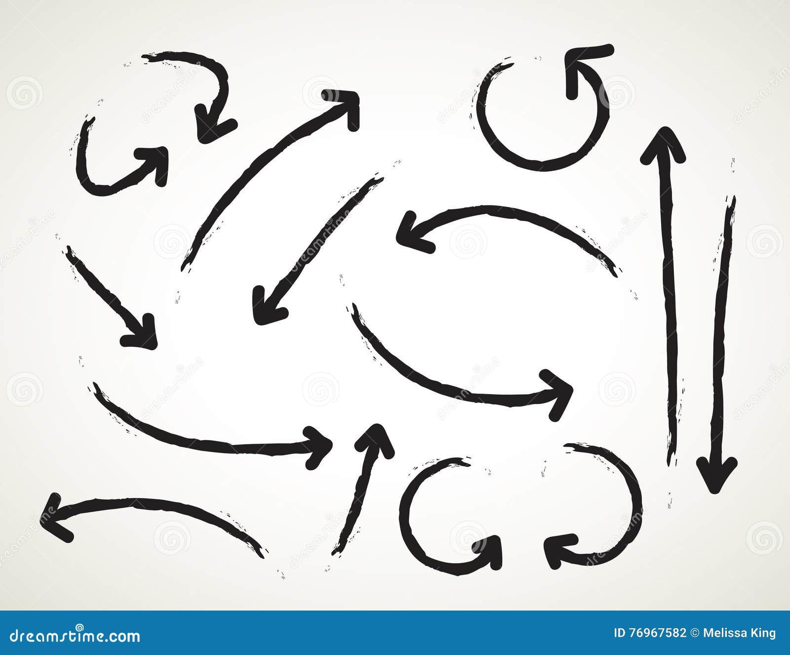 Sistema dibujado mano del vector en el fondo blanco - elementos con las flechas y los elementos