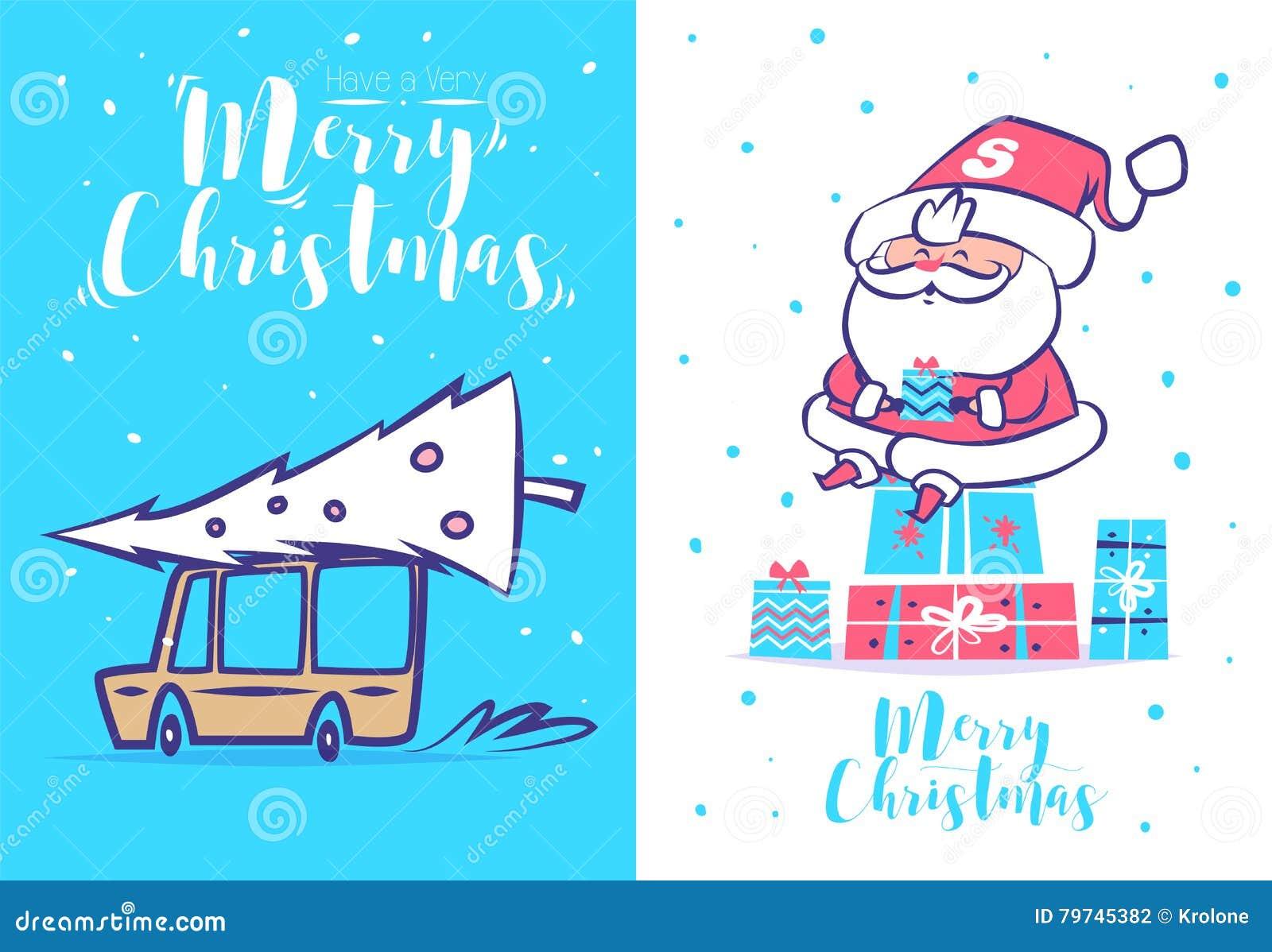 Sistema divertido de santa Cartel del fondo de la tarjeta de felicitación de la Navidad Ilustración del vector