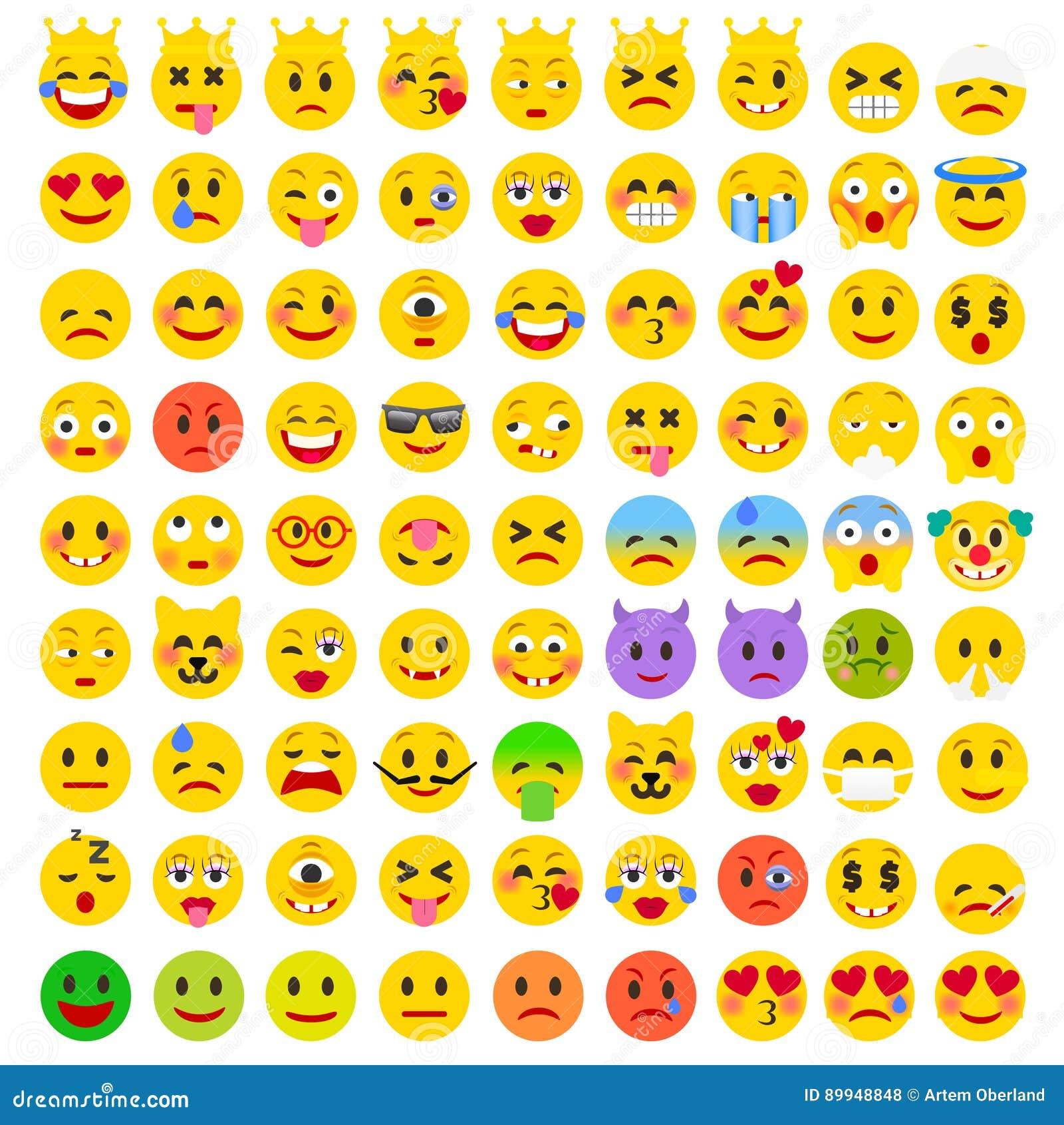 Sistema divertido plano abstracto de Emoticons Sistema de Emoji