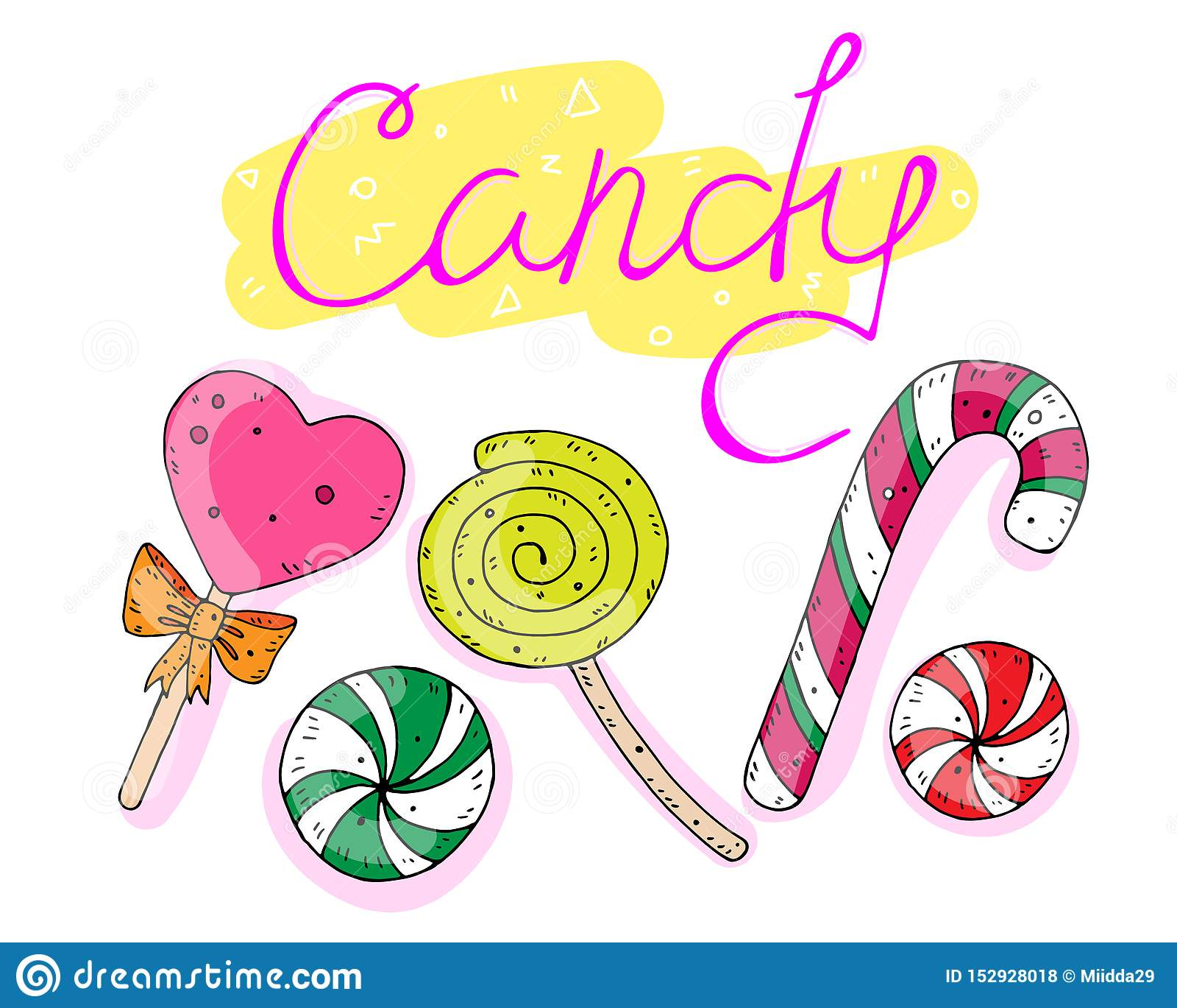 Sistema dulce de caramelos con la inscripción Ilustraci?n del vector