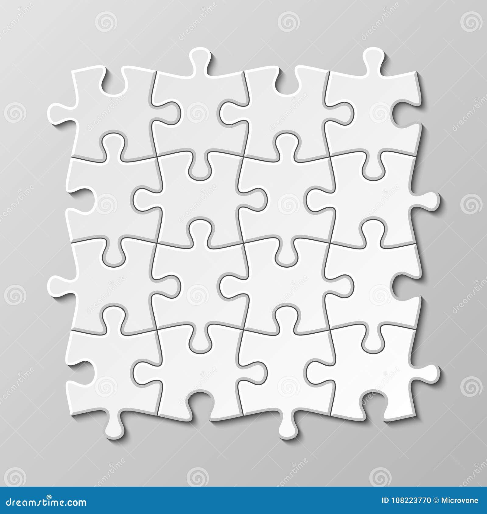 Sistema en blanco blanco del vector del pedazo del rompecabezas