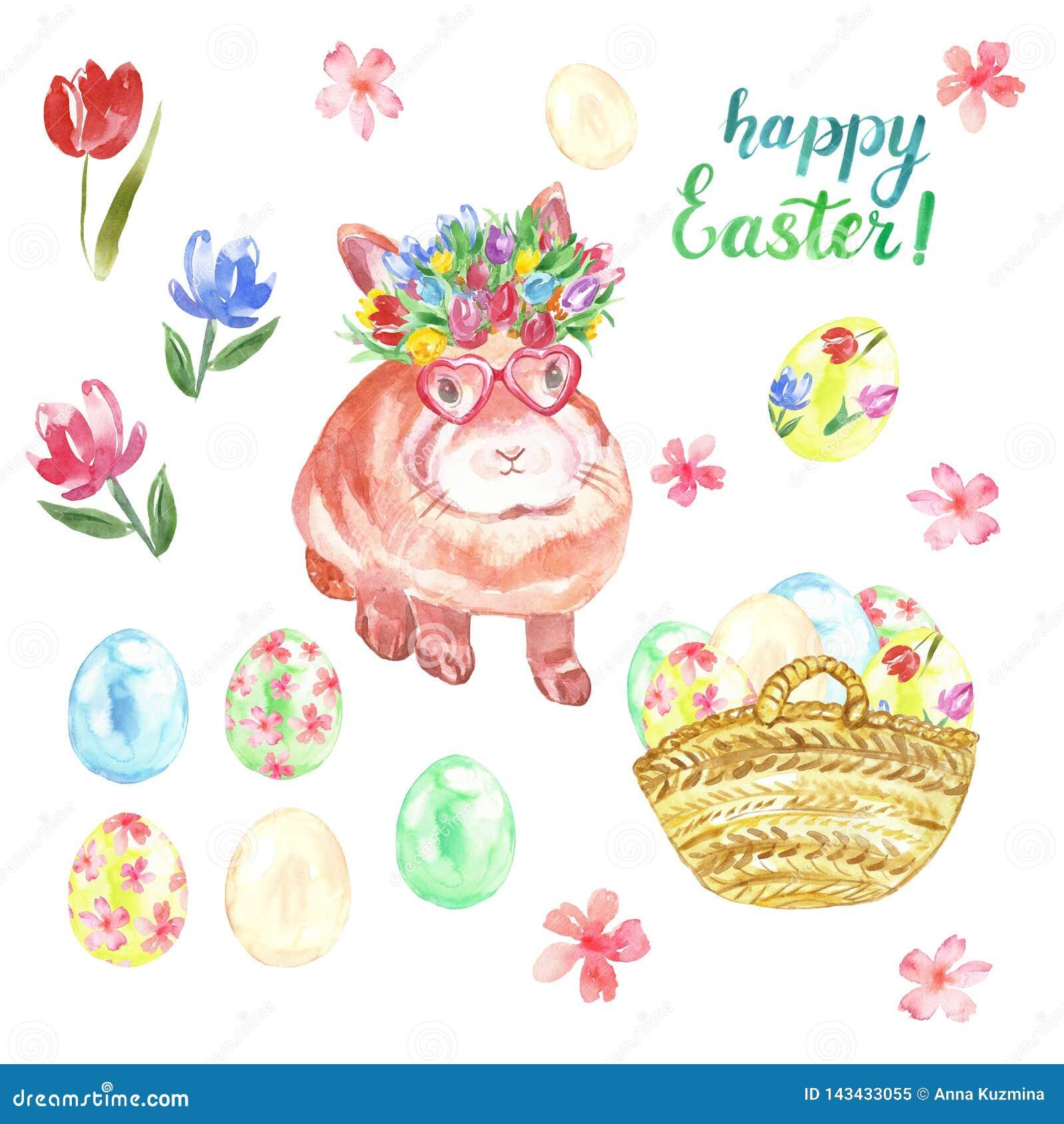 Sistema feliz de Pascua de la acuarela con el conejito lindo, huevos coloreados en cesta, flores coloridas de la primavera aislad