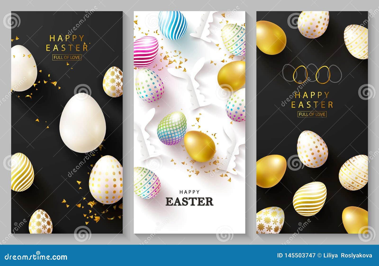 Sistema feliz de Pascua de tarjetas Fondo hermoso con los huevos coloridos, los conejitos de papel, las manzanillas y la serpenti