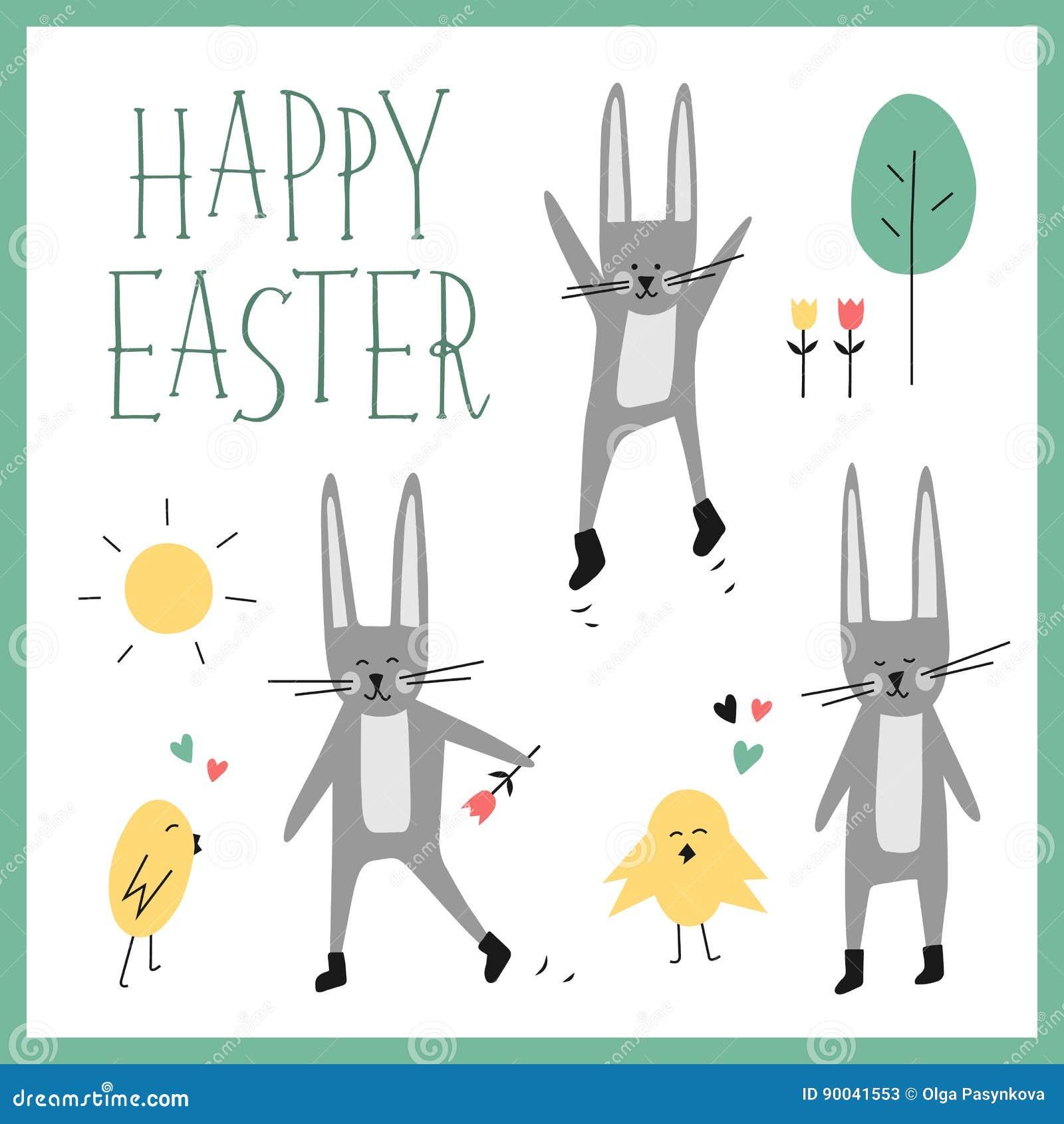 Sistema Feliz Del Vector De Pascua Conejito Conejo