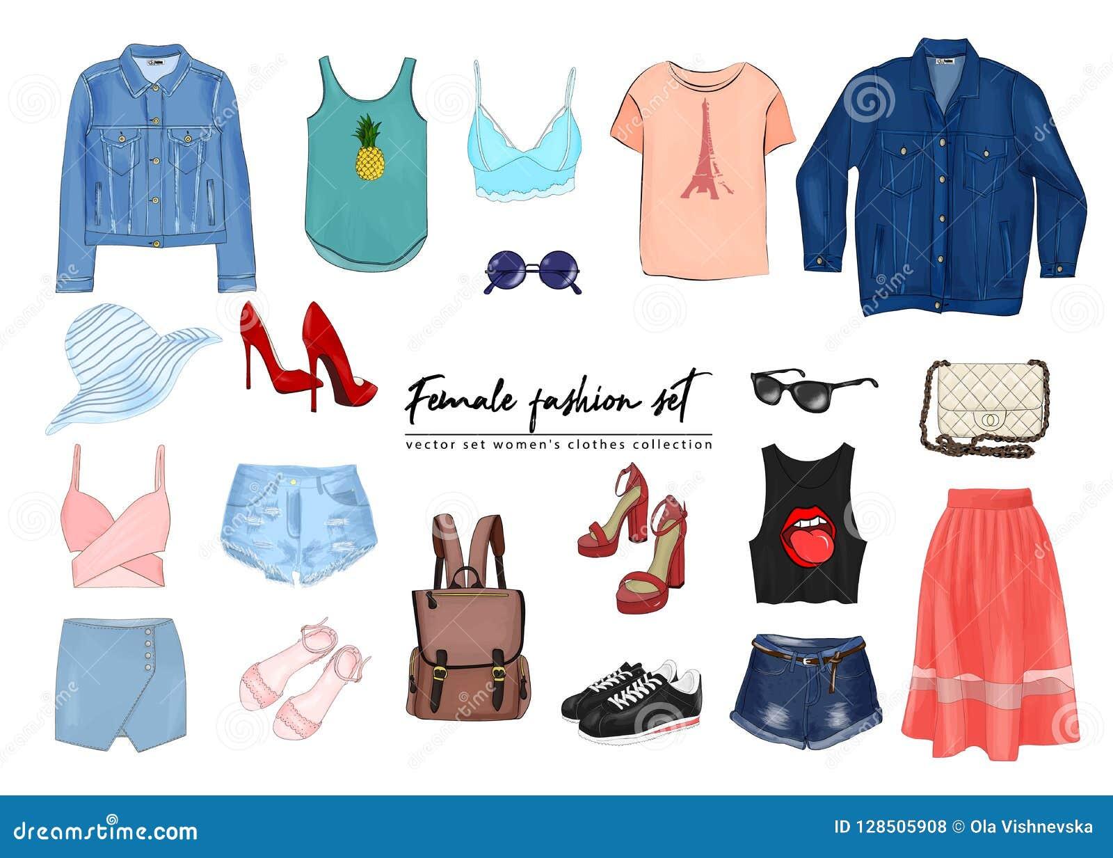 Sistema femenino de la moda El ` determinado s de las mujeres del vector del drawnи de la mano viste la colección Primavera, equ
