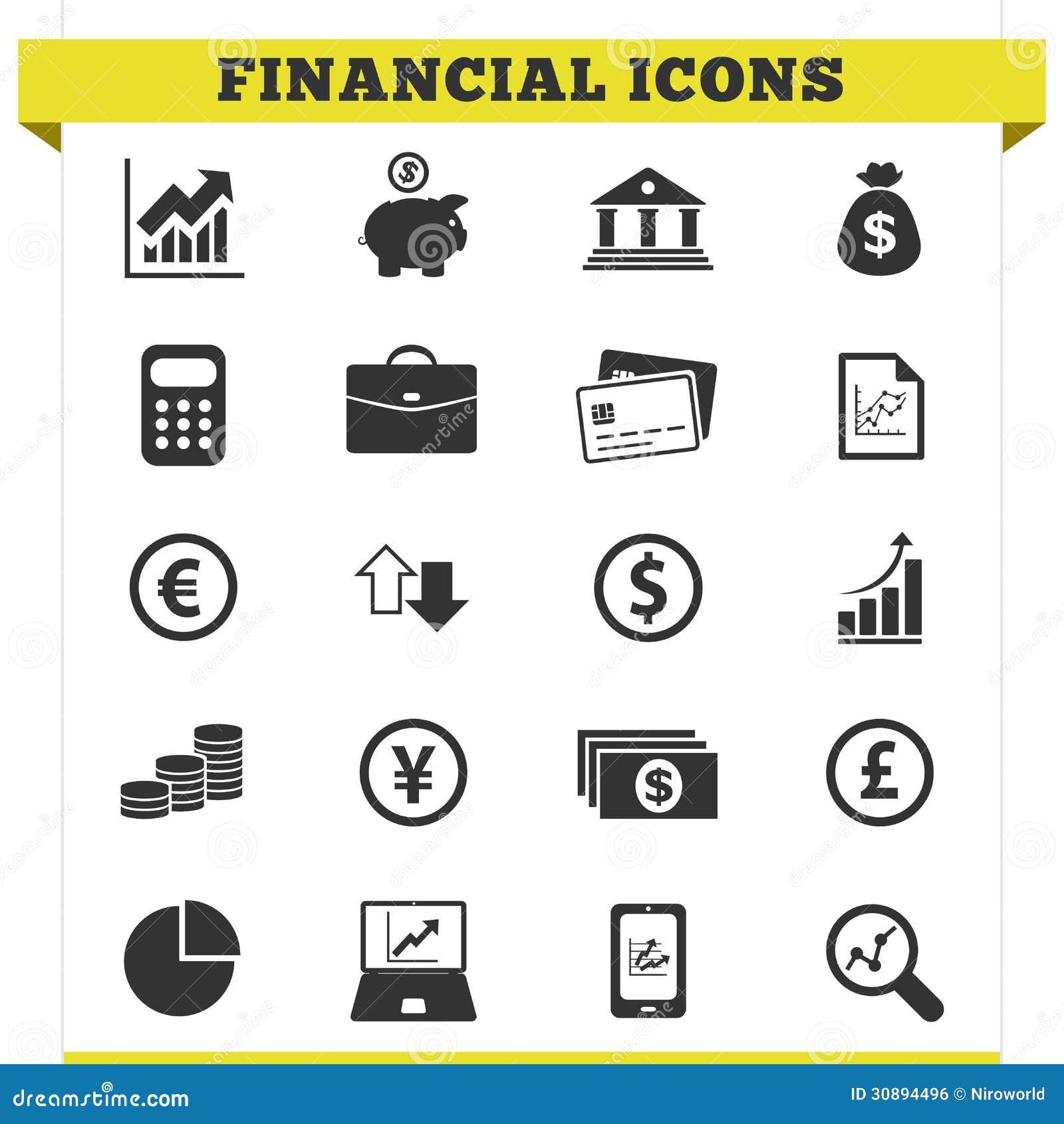 Sistema financiero del vector de los iconos