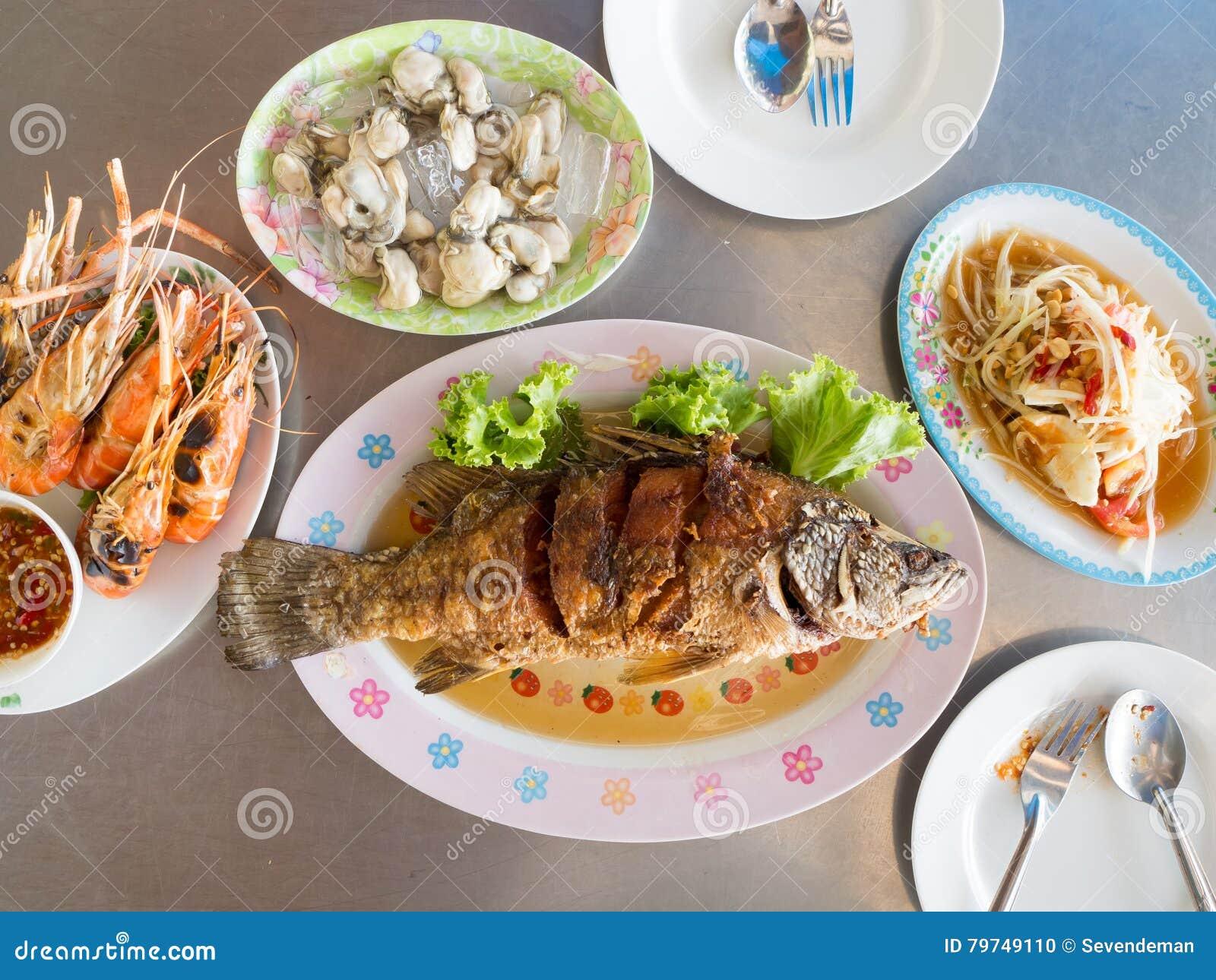 Sistema frito tailandés de los pescados