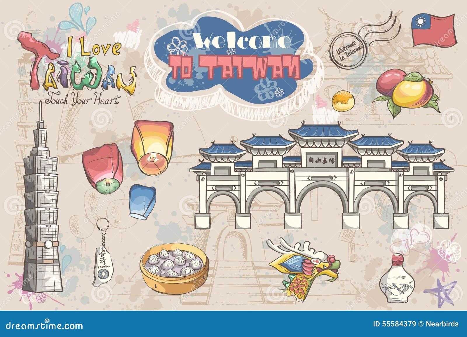Sistema grande de diversas atracciones de Taiwán asia concepto del recorrido