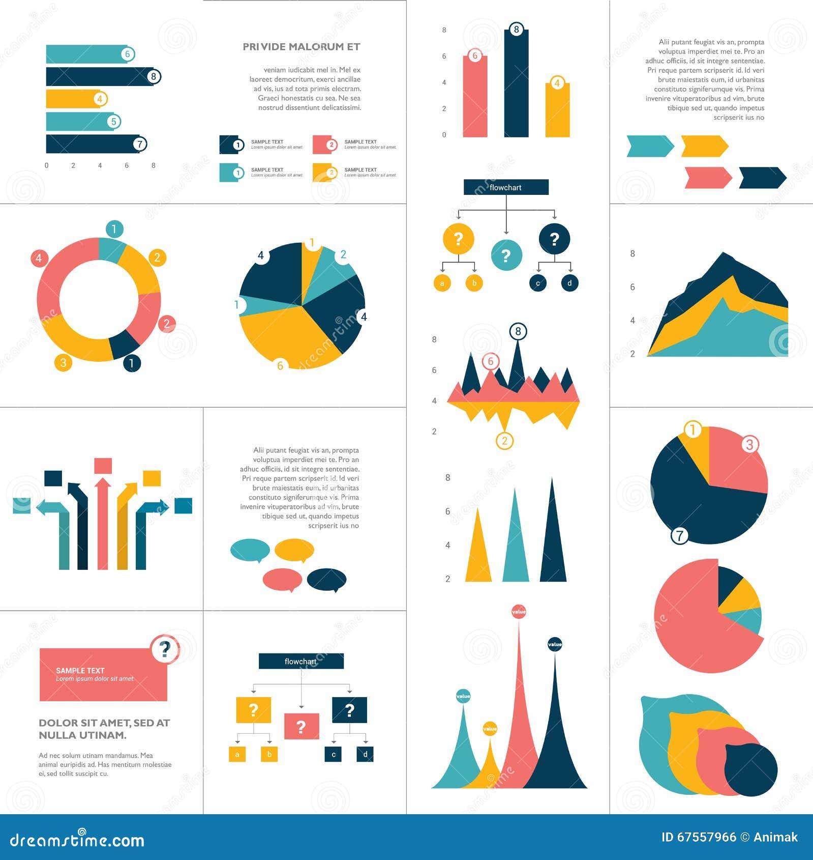 Sistema grande de elementos planos del infographics La carta, gráfico, diagrama, esquema, organigrama, burbujea incluido