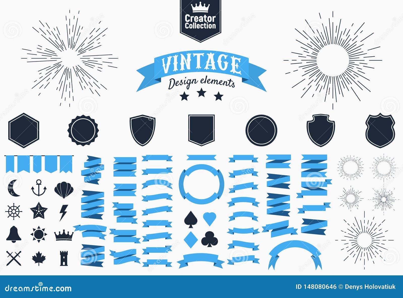 Sistema grande de 74 elementos retros del diseño elementos del diseño para las banderas retras del vintage, carteles, logotipos I