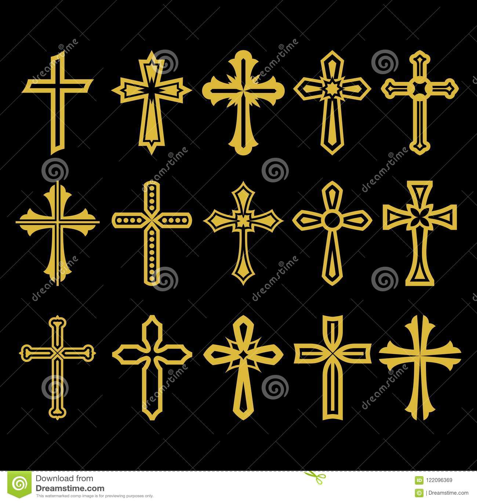Sistema grande de la cruz del vector, colección de elementos del diseño para crear logotipos Símbolos cristianos