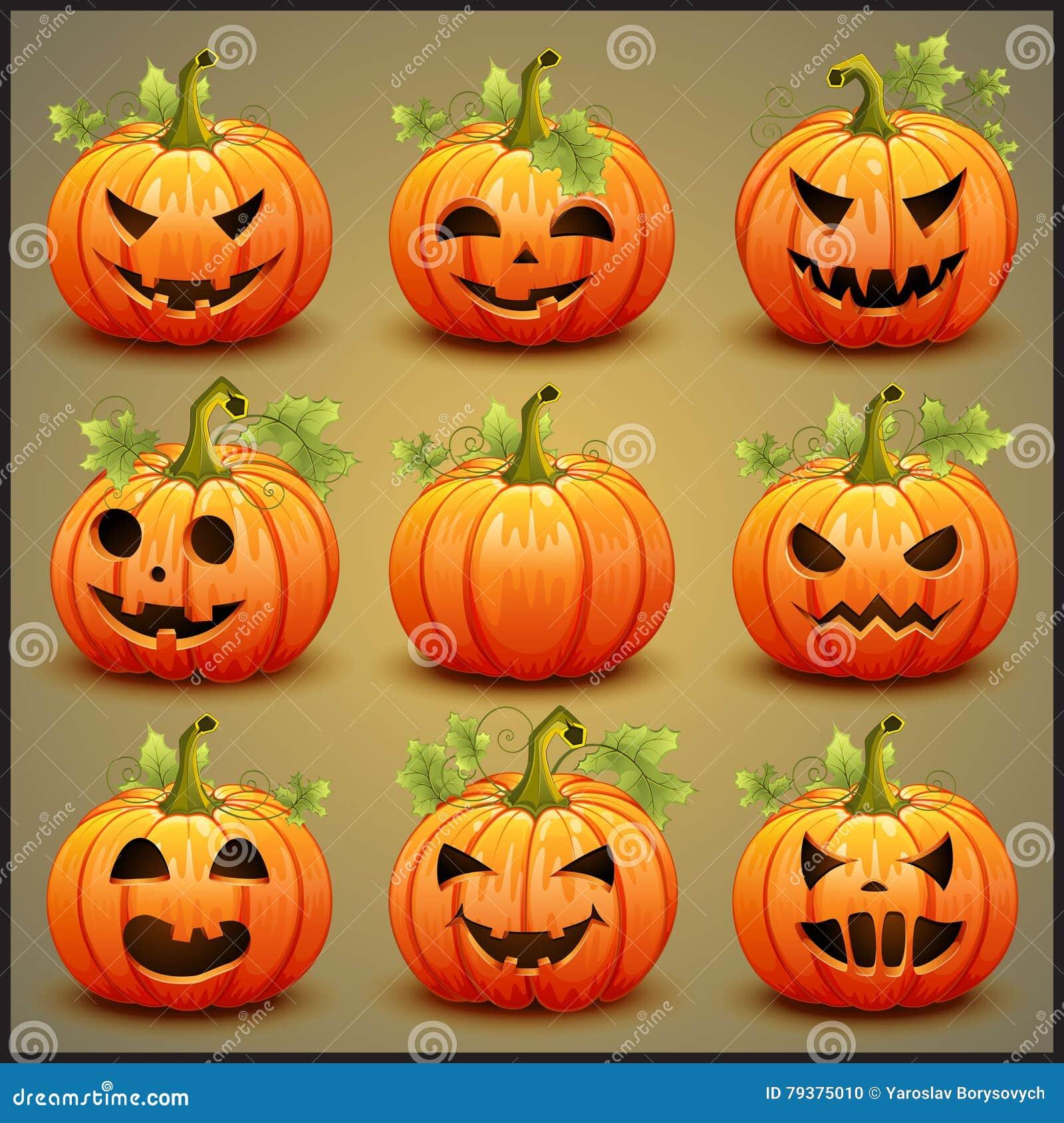 Sistema Grande De Las Calabazas Para Halloween Vector Ilustración ...