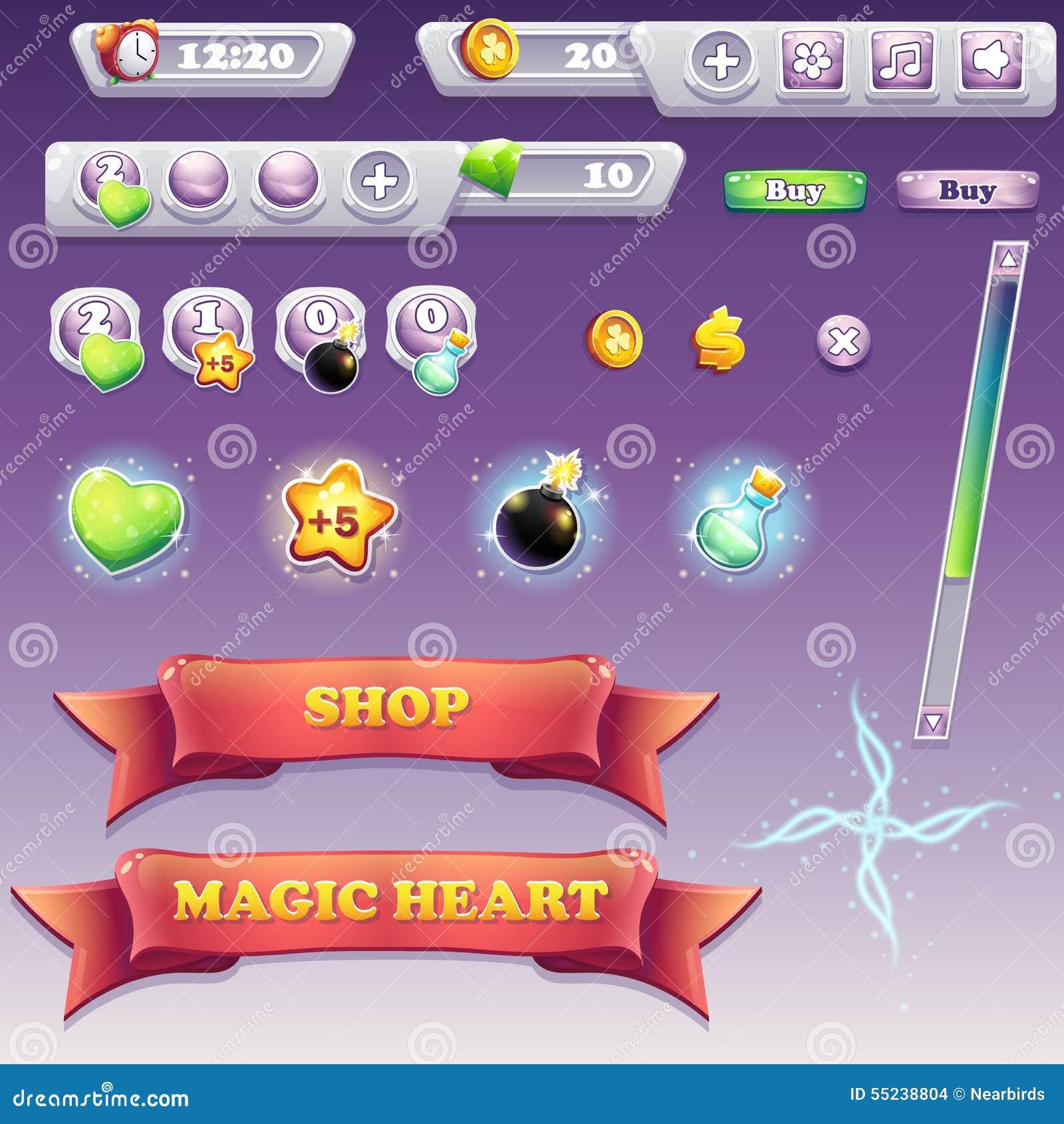sistema grande de los elementos del interfaz para los juegos de ordenador y el diseo web