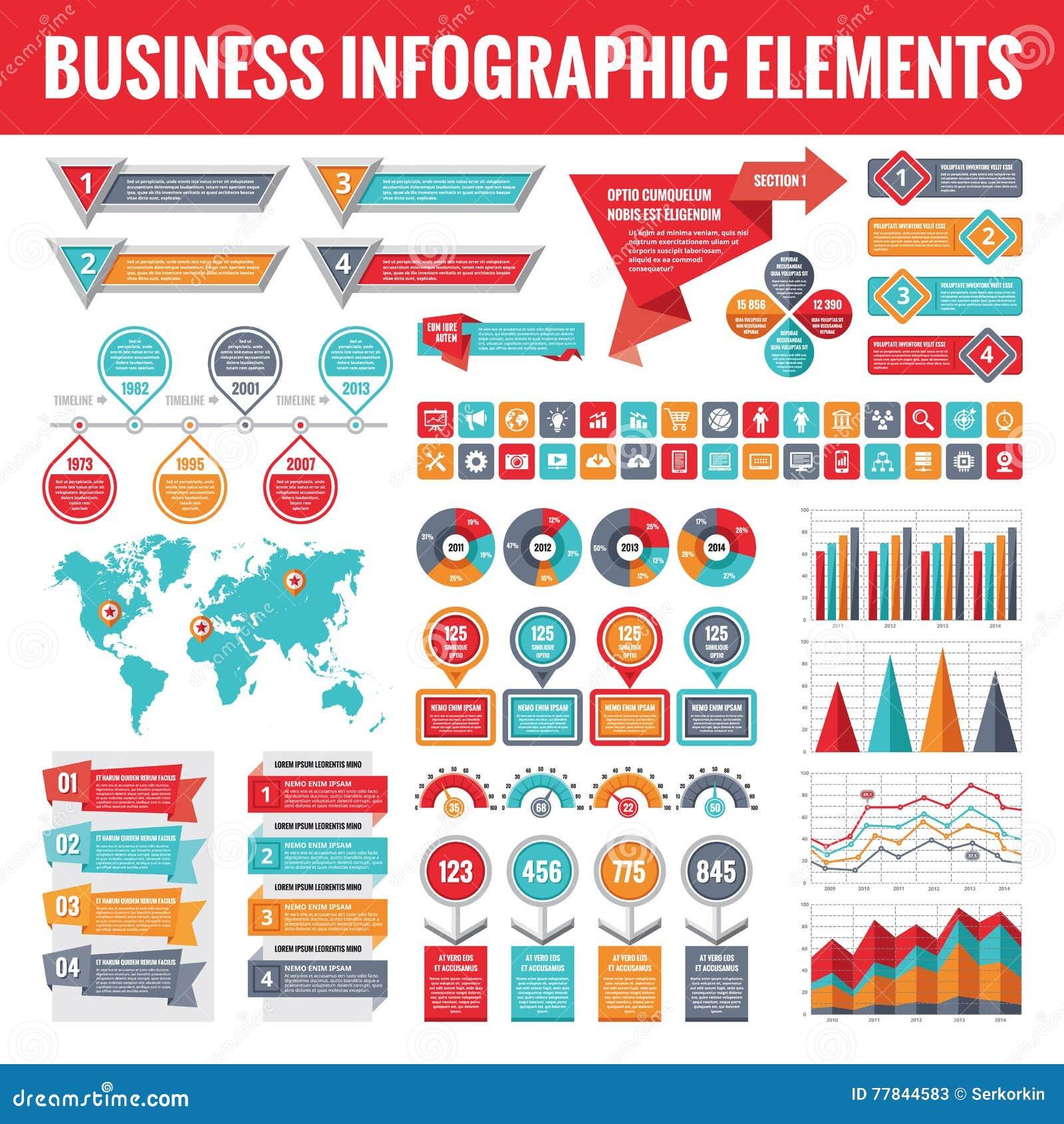 Sistema grande de los elementos infographic del negocio para la presentación, el folleto, el sitio web y otros proyectos Plantill