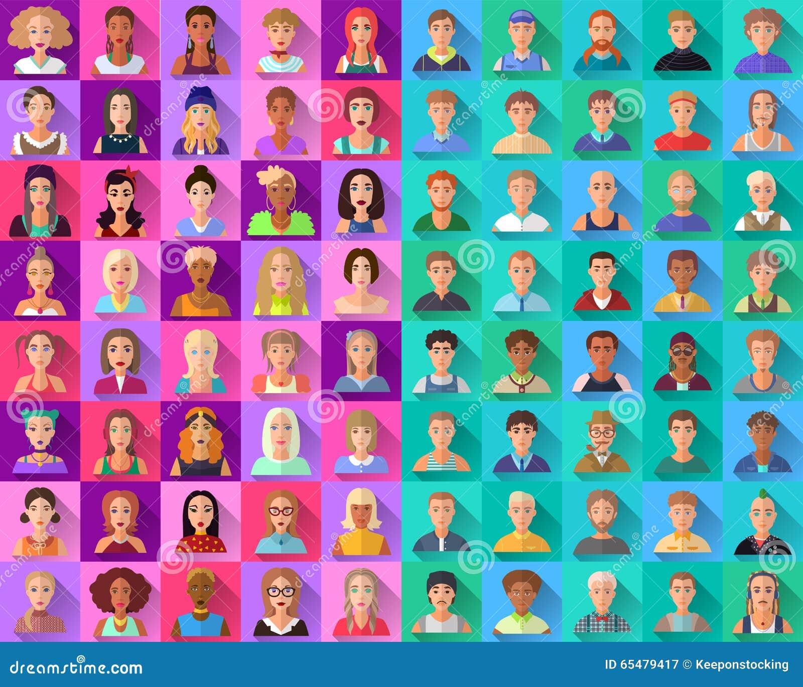 Sistema grande de los iconos planos de diversos caracteres masculinos