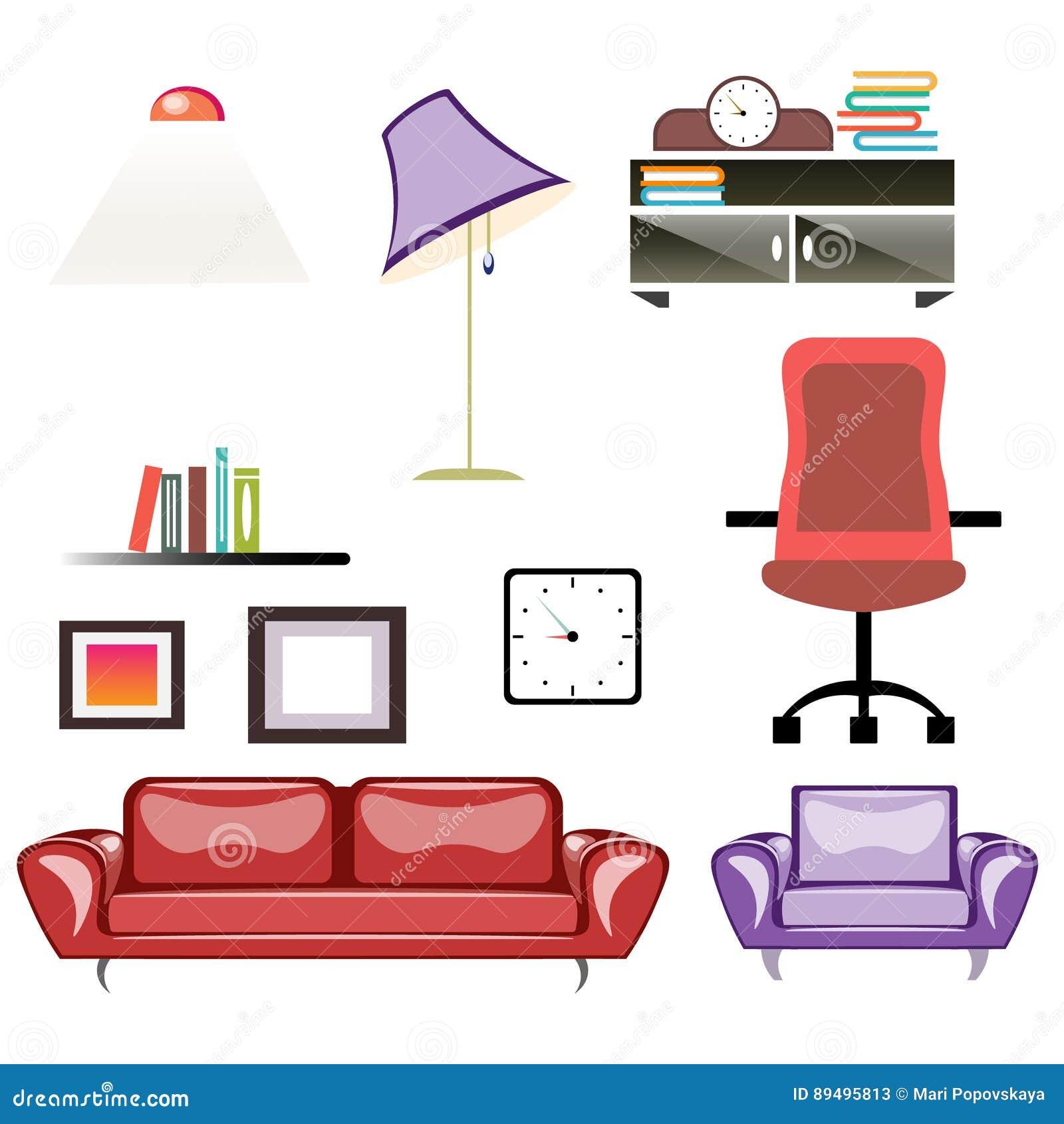 Sistema Grande De Los Muebles Del Apartamento Ilustración del Vector ...
