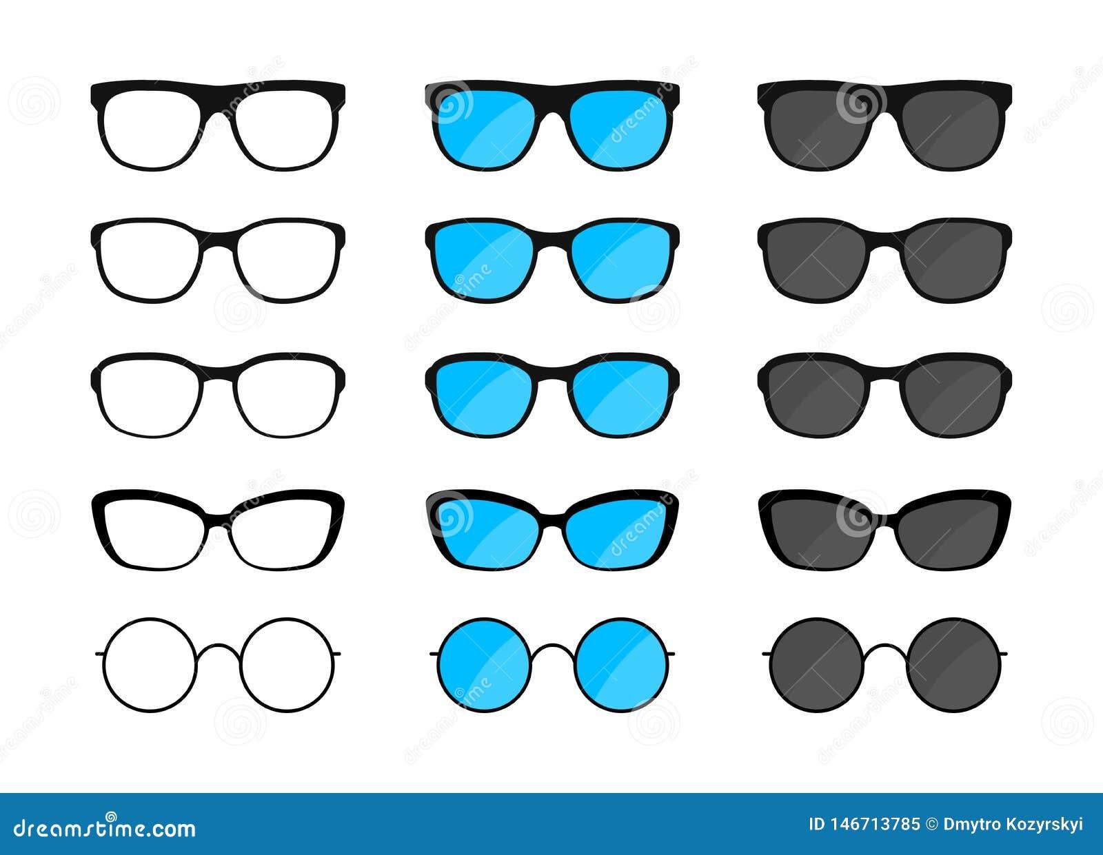 Sistema grande de vidrios Gafas de sol, vidrios negros de las siluetas, lentes Ilustraci?n del vector