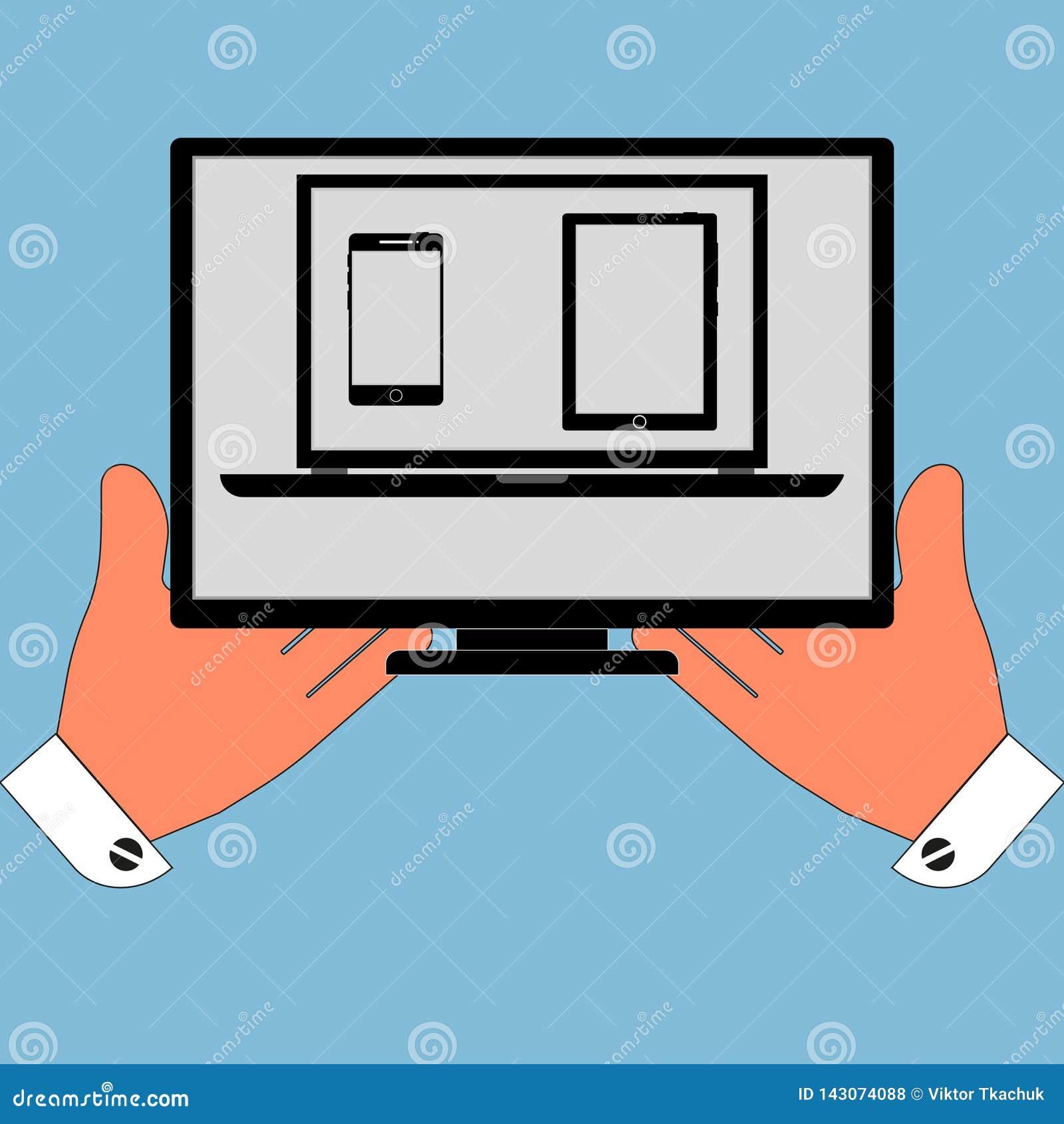 Sistema grande del icono de las pantallas y de los monitores en sus manos, aislamiento en un fondo azul Ejemplo elegante del vect