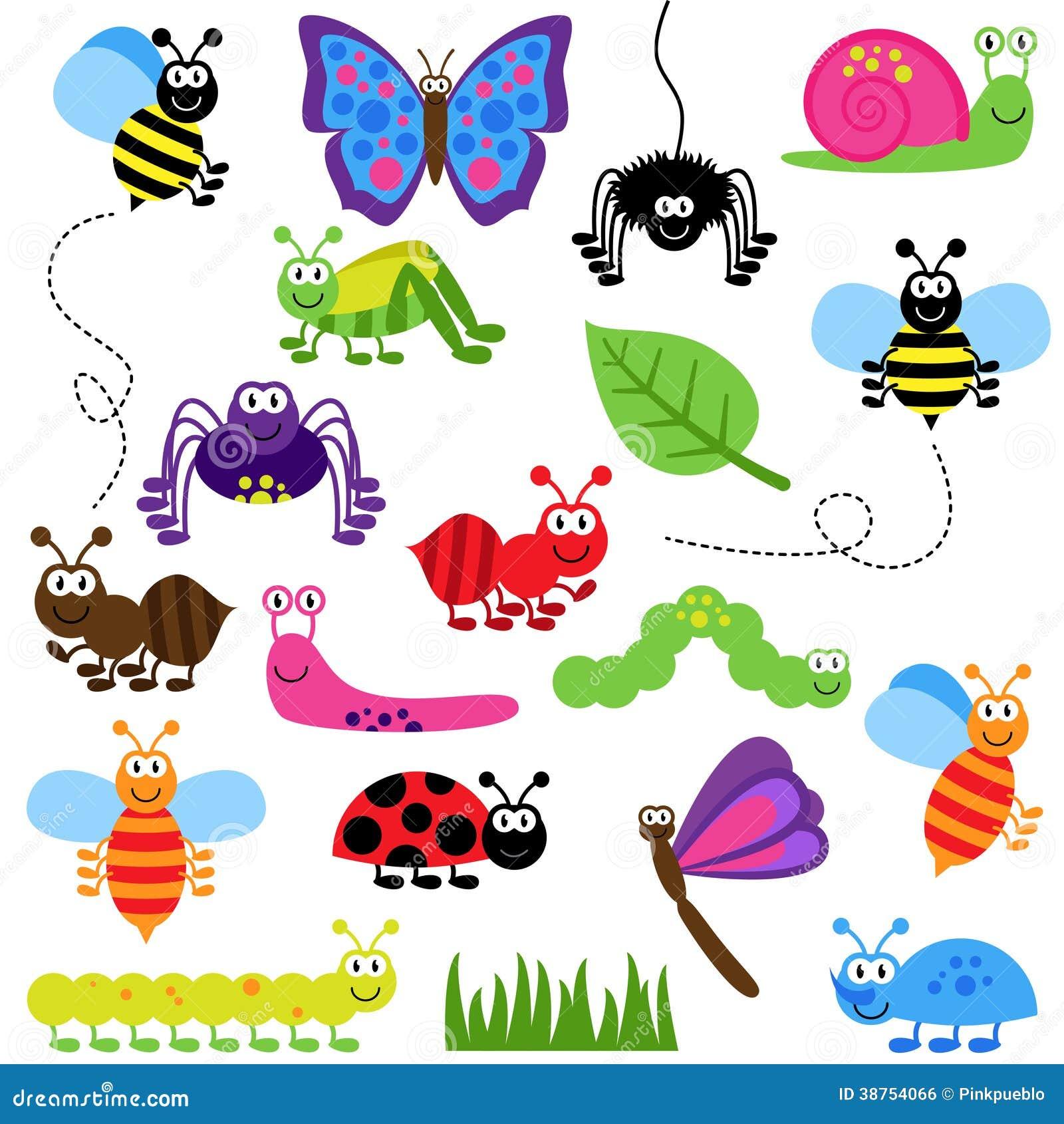Sistema grande del vector de insectos lindos de la historieta